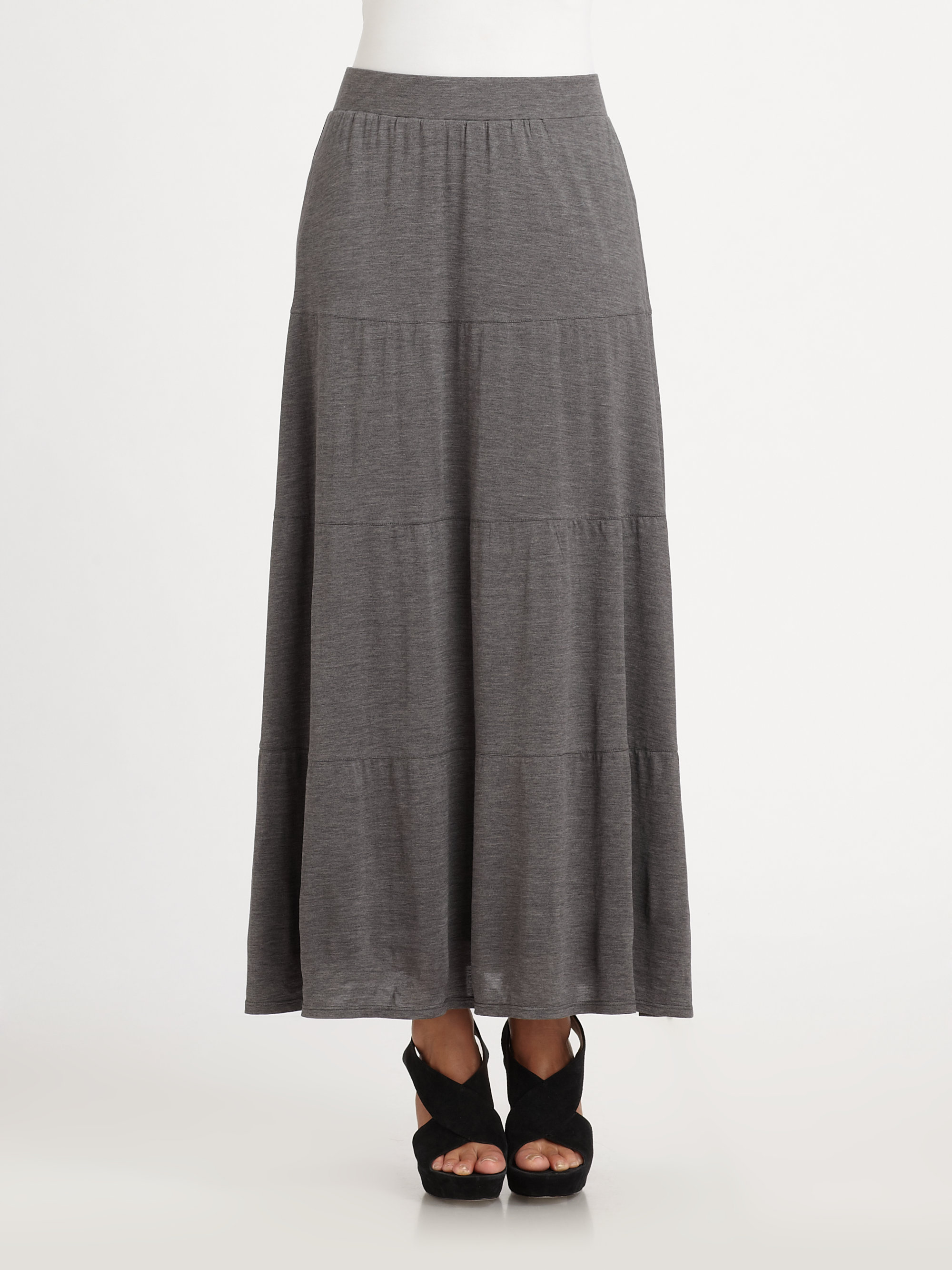 Lyst Eileen Fisher Linen Tiered Maxi Skirt In Gray