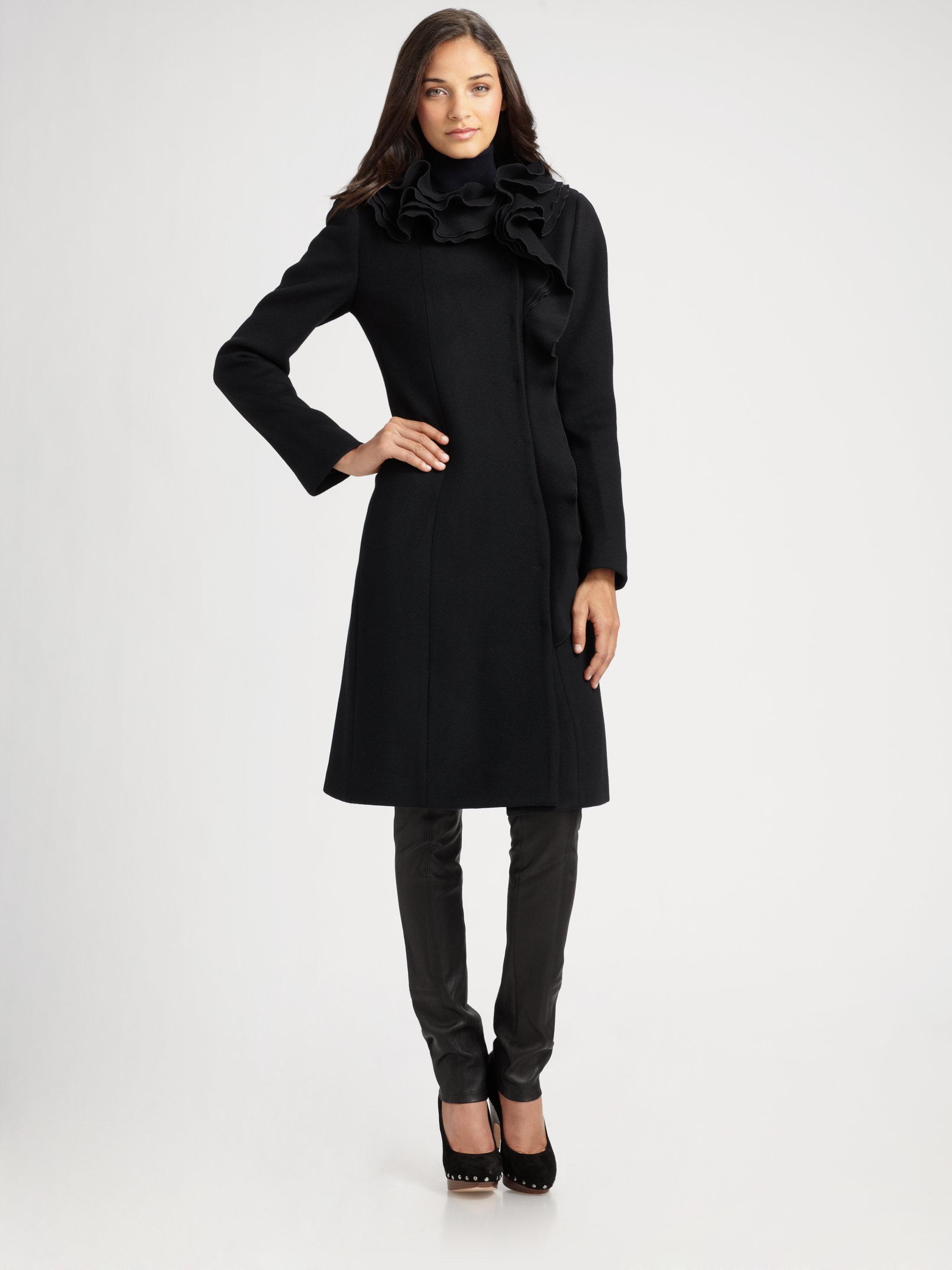 Elie tahari Ruffled Wool Coat in Black | Lyst