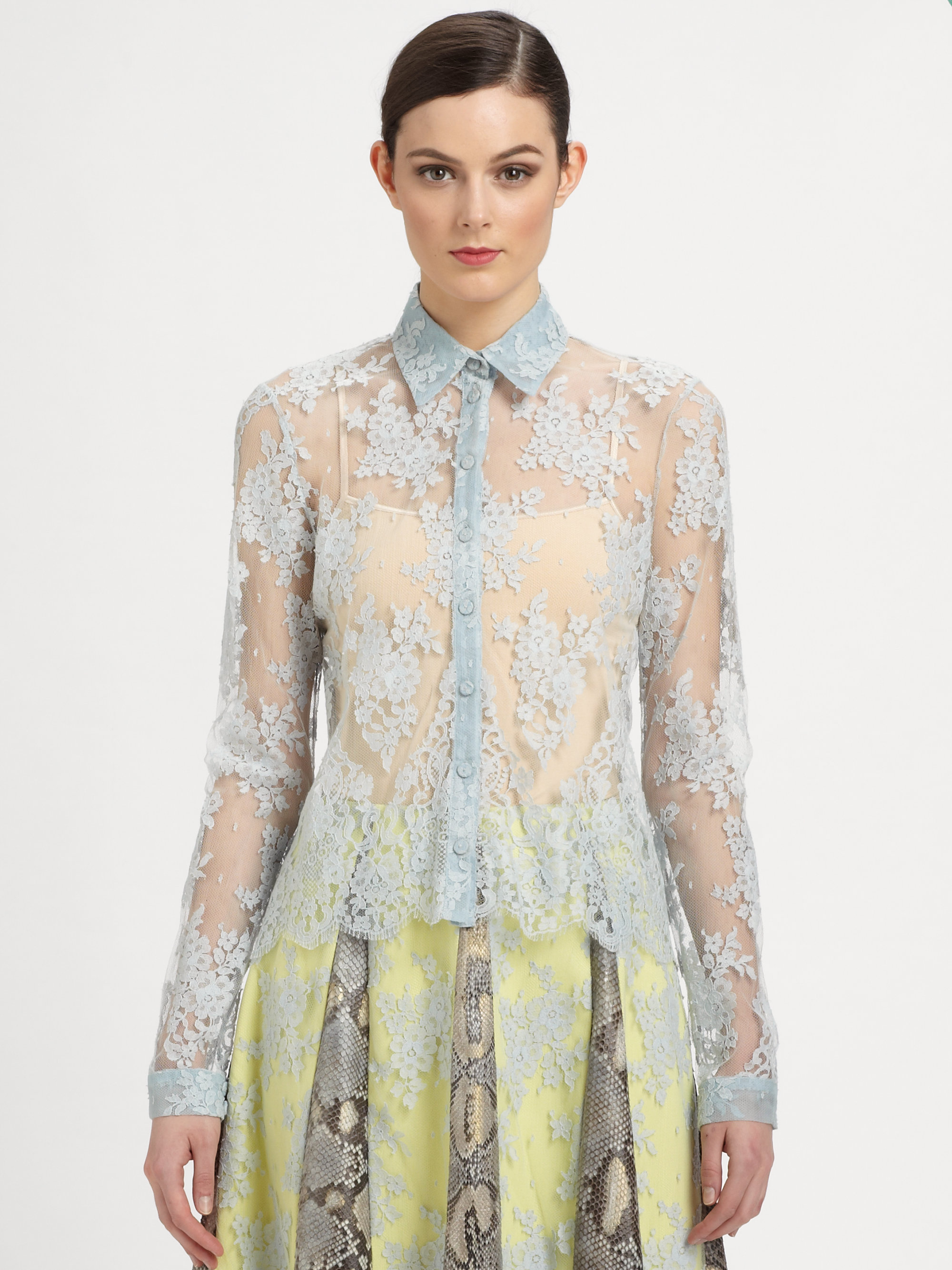 Erdem Lace Blouse in Blue (light blue)