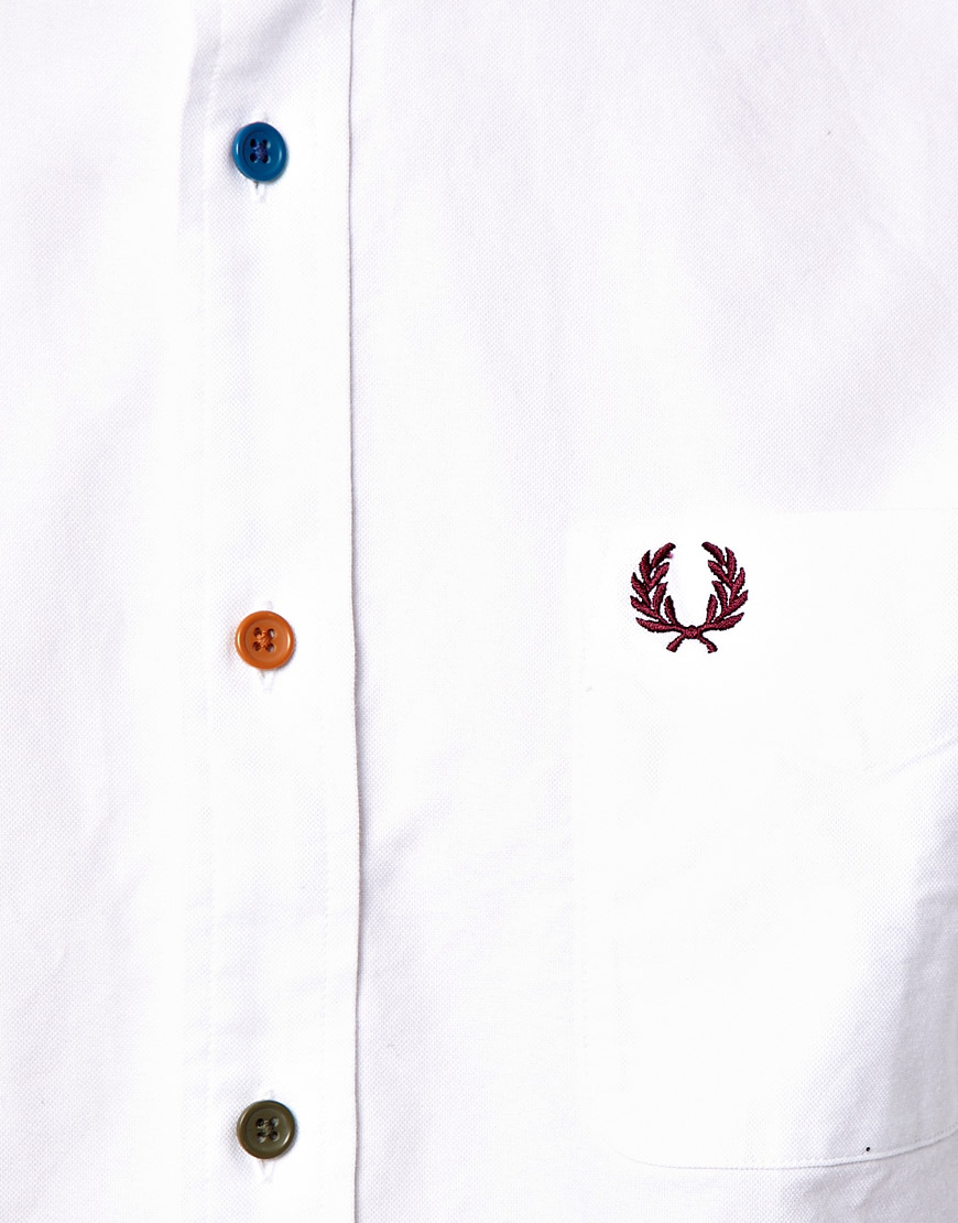 Fred perry Oxford Shirt with Multi Coloured Buttons in White for ...