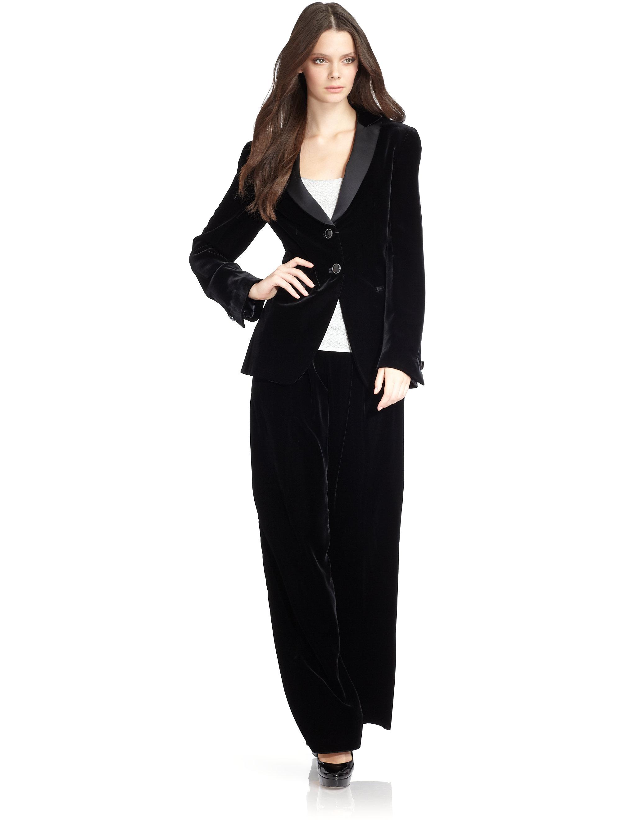 Giorgio Armani Velvet Tuxedo Jacket In Black Lyst