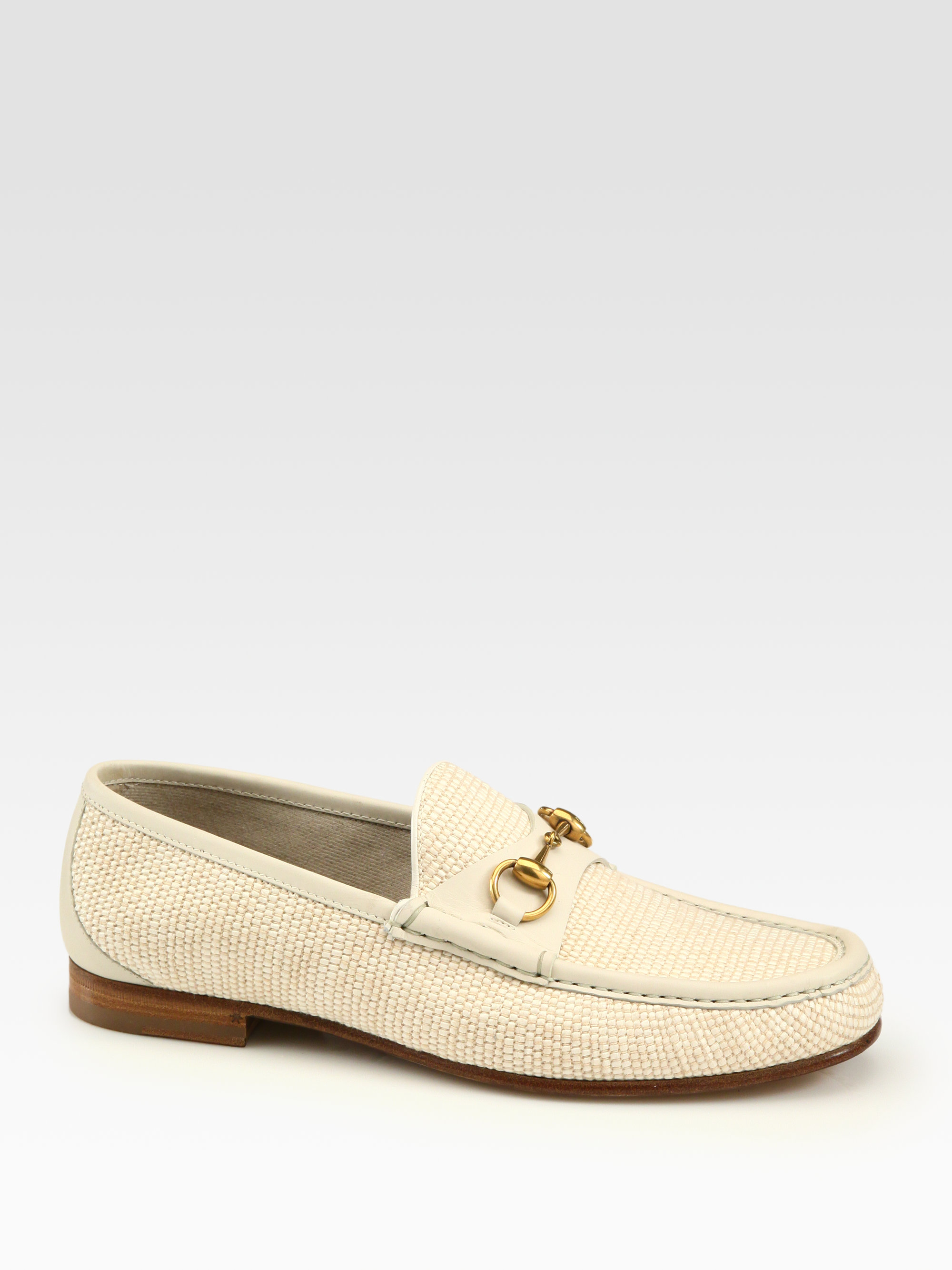 201d6035a7f Lyst - Gucci White Straw Horsebit Loafer in Natural for Men
