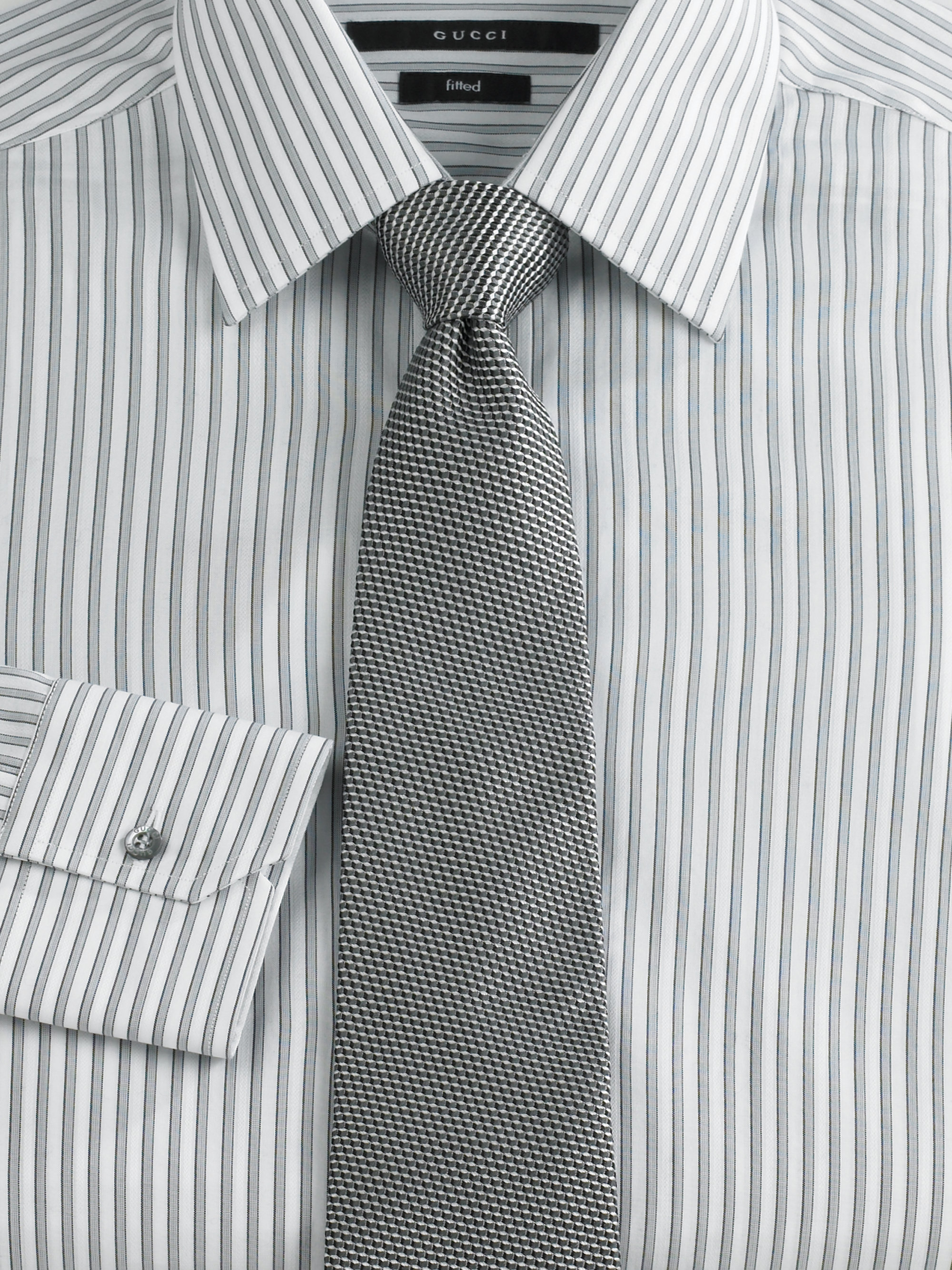 Gucci Striped Dress Shirt in Gray for Men | Lyst