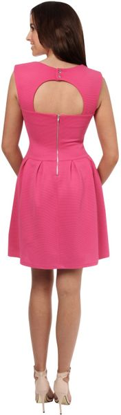 Jane Norman Waffle Lantern Skater Dress In Pink Fuchsia