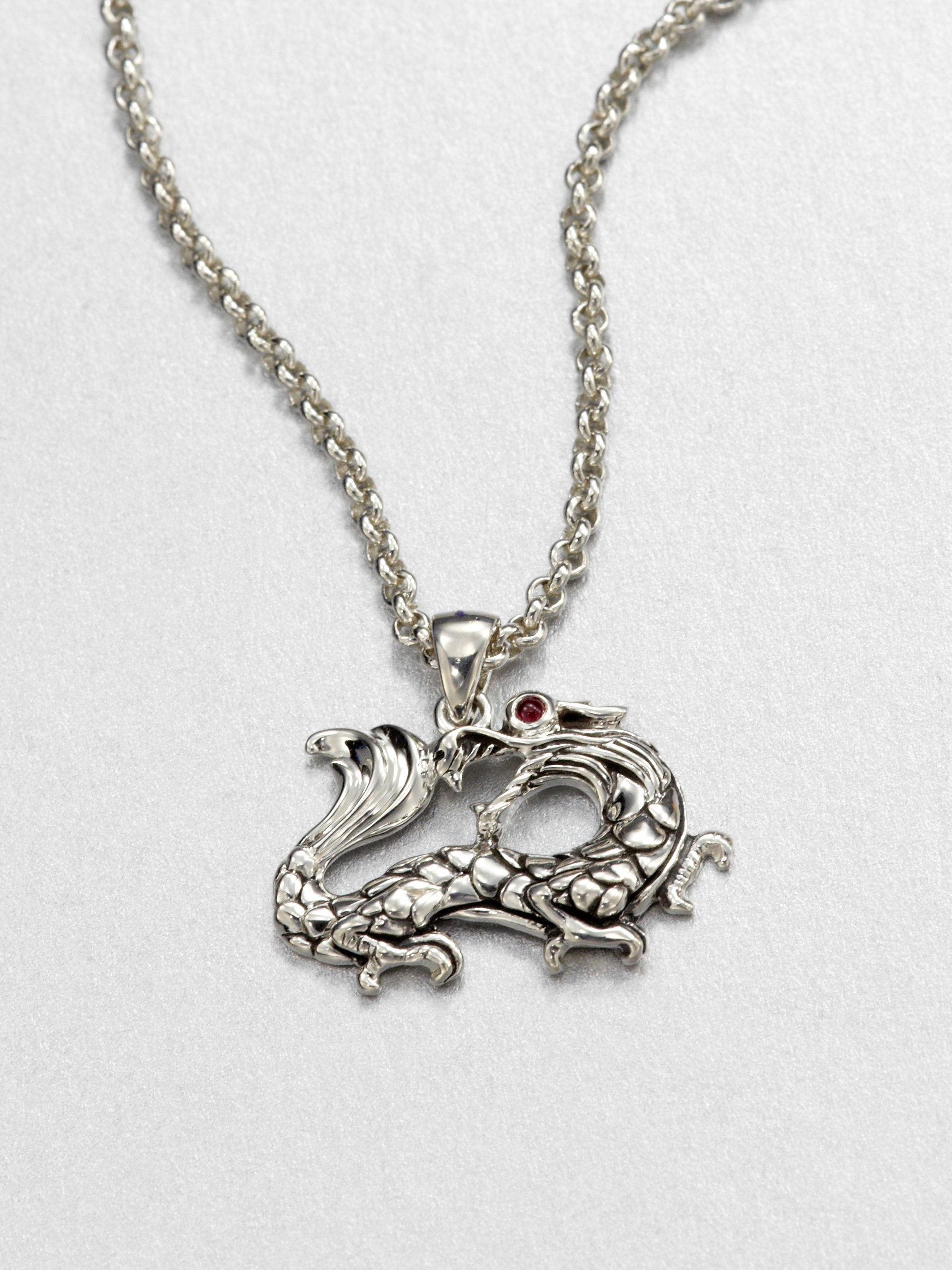 John Hardy Sterling Silver And Ruby Dragon Necklace In