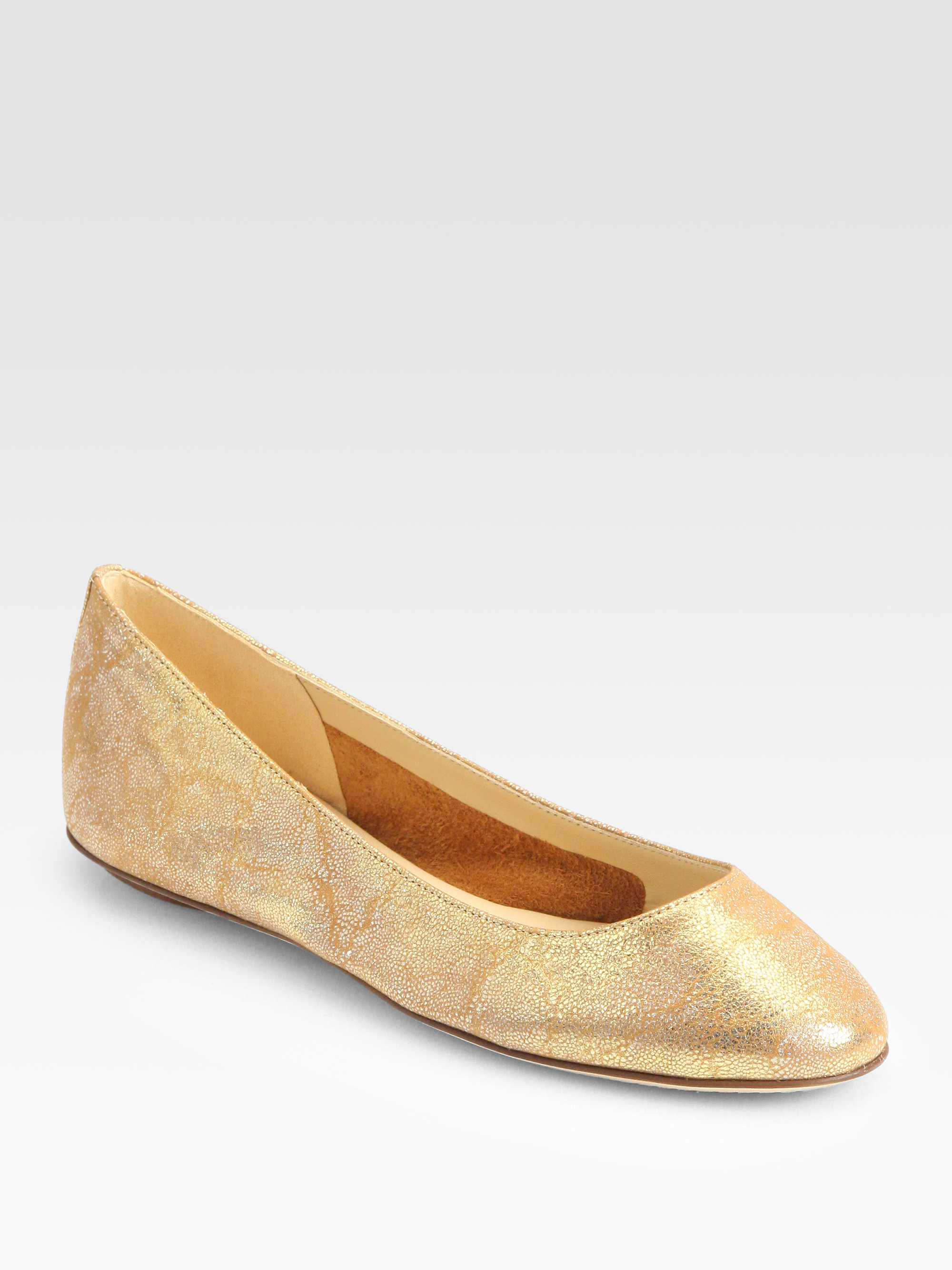 Lyst kate spade new york kat metallic brushed leather for Kate spade new york flats