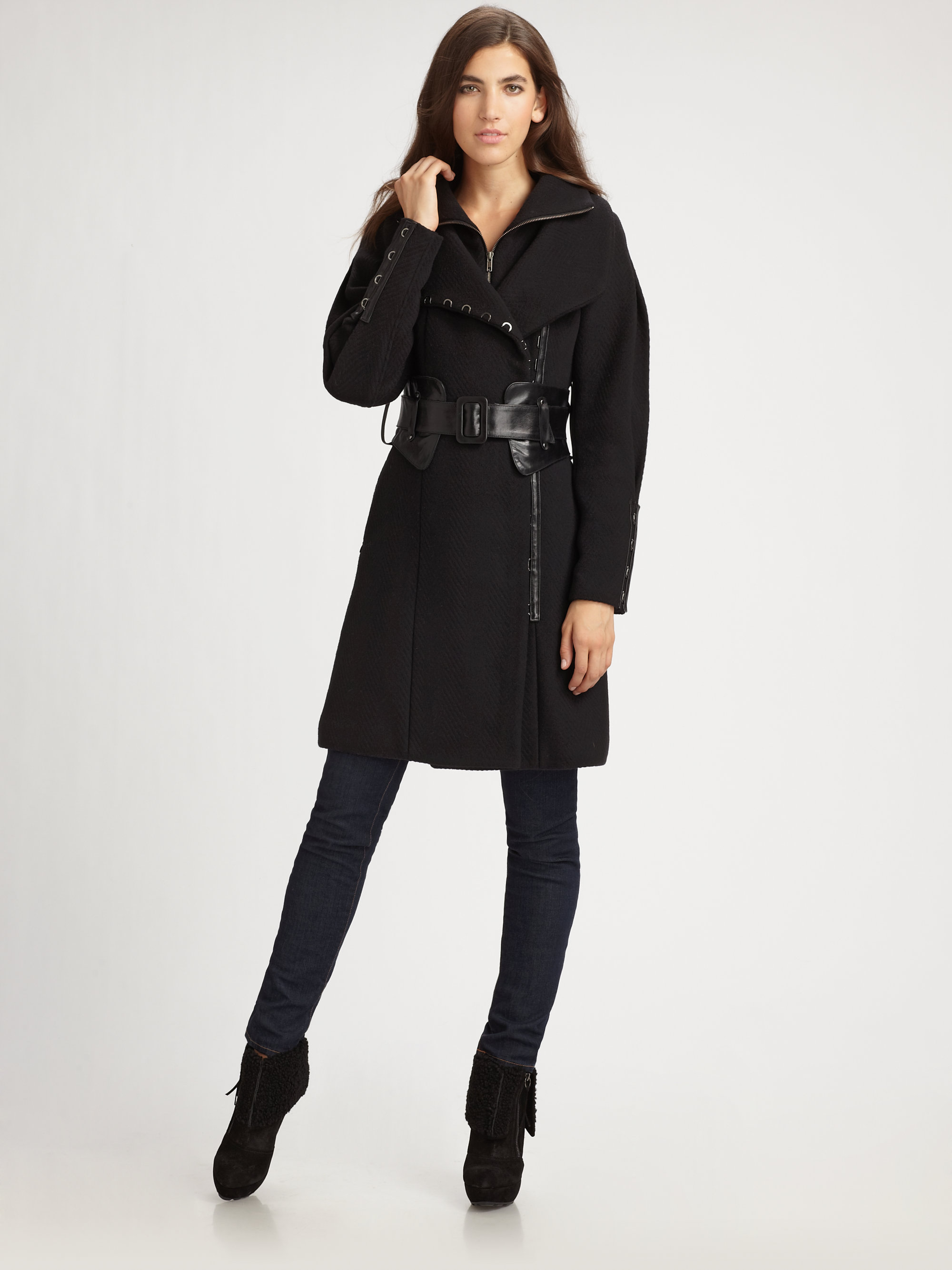 501cb156fb4 ... coupon code lyst mackage leather belted wool coat in black 277e0 411e5