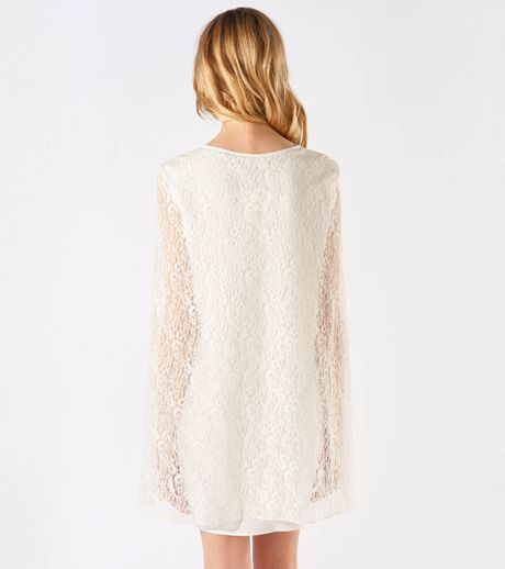 Maje Adequat Lace Cape Dress in White