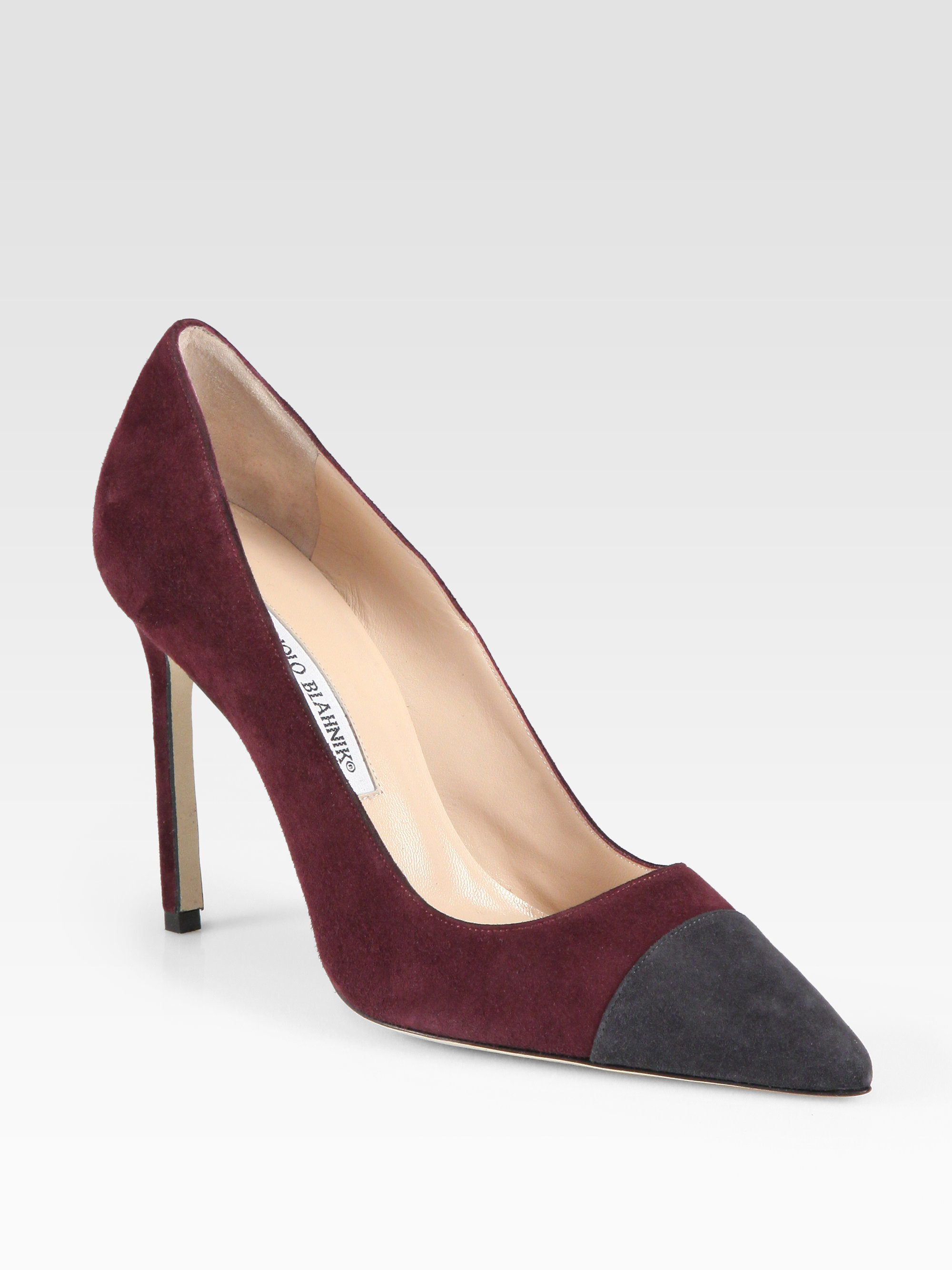 Manolo blahnik bipunta suede pumps in purple lyst for Who is manolo blahnik