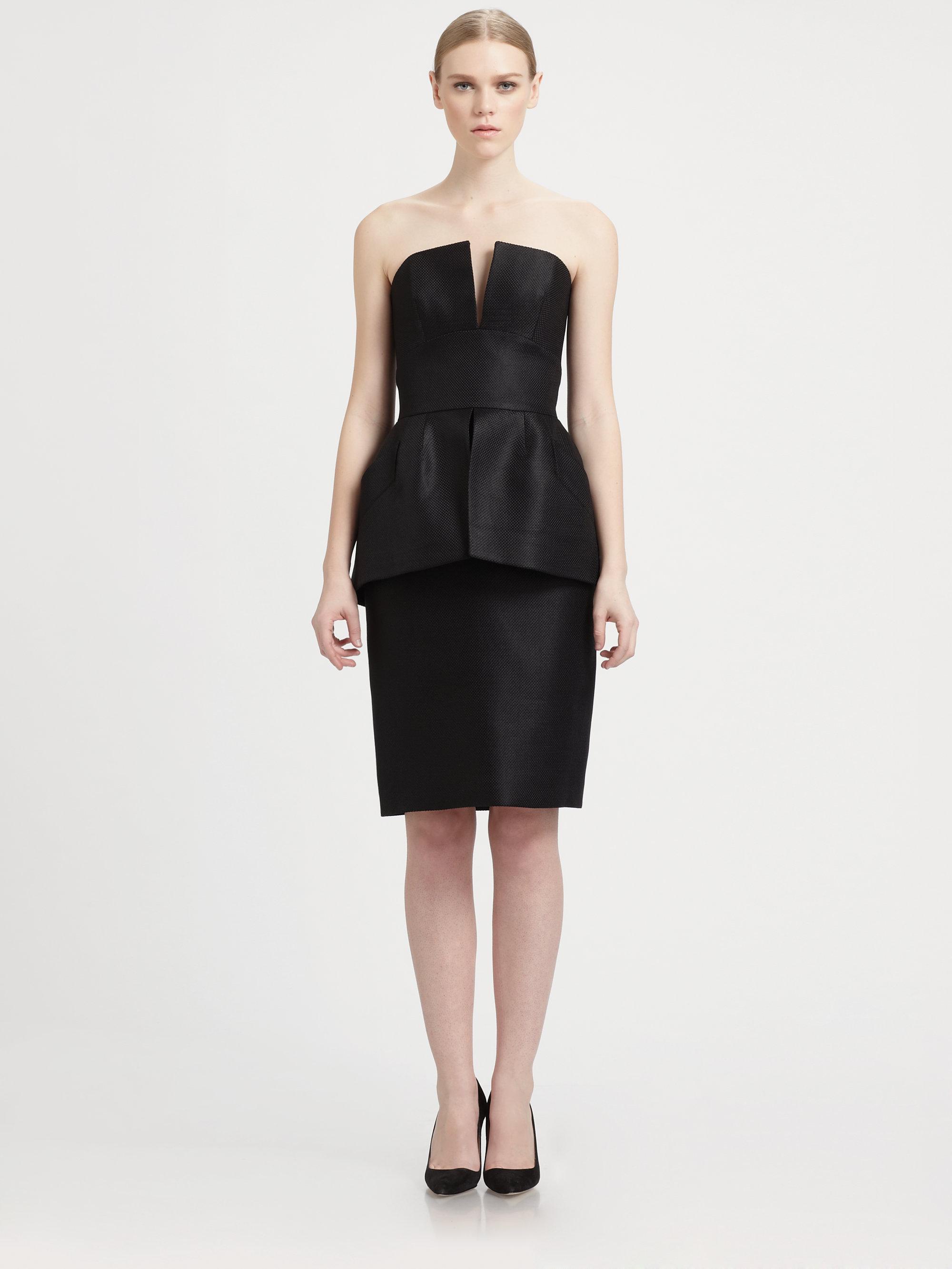b008711607 Lyst - Martin Grant Strapless Peplum Dress in Black