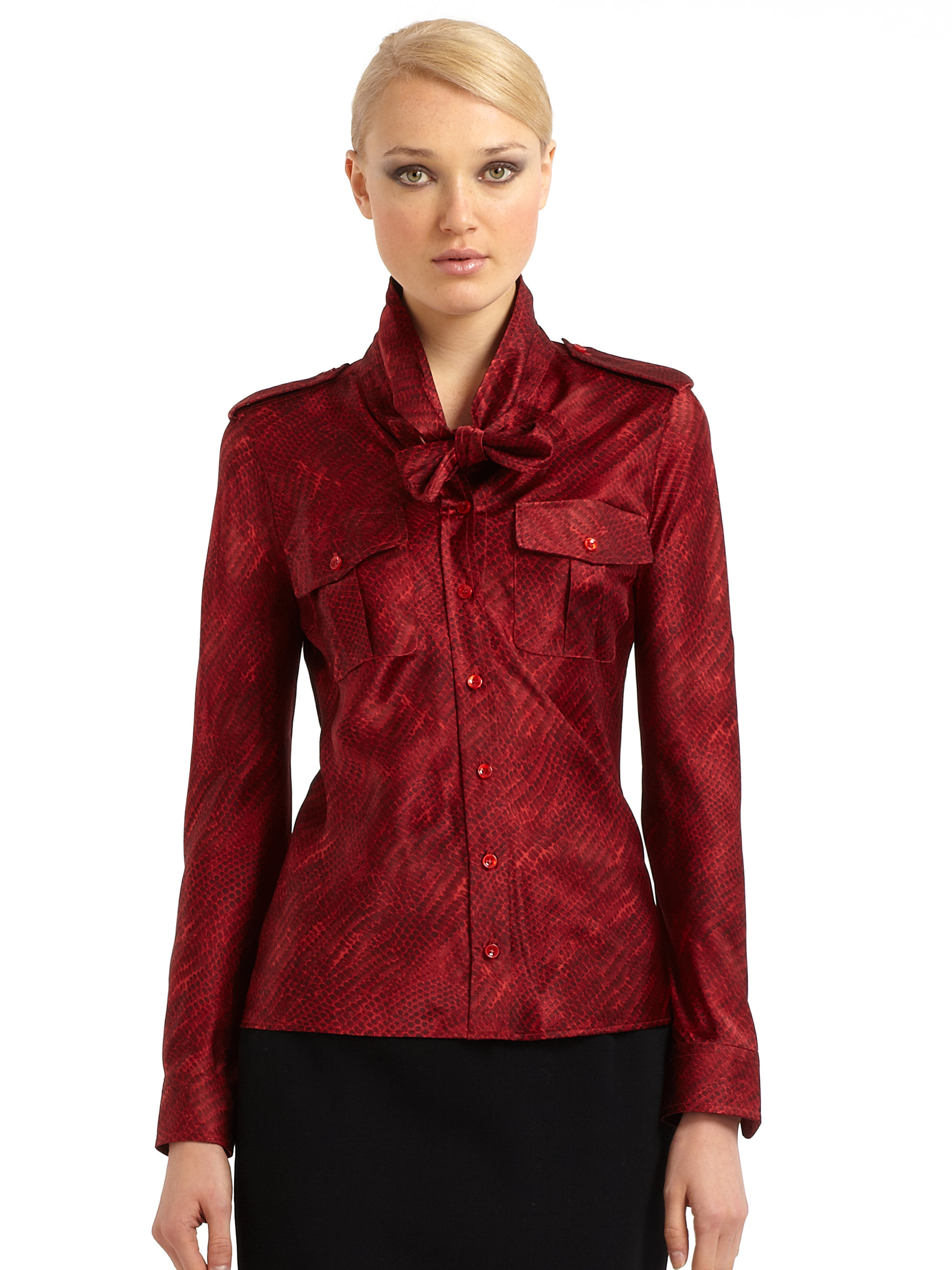 Dark Red Silk Blouse 11