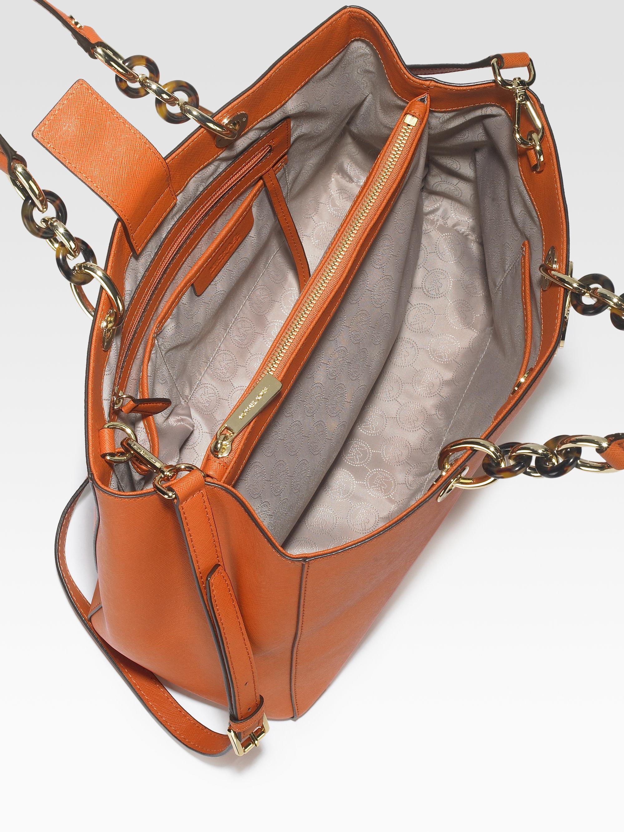 6bf68b6c7abb ... shop lyst michael michael kors cynthia large satchel in natural 71d6b  23028