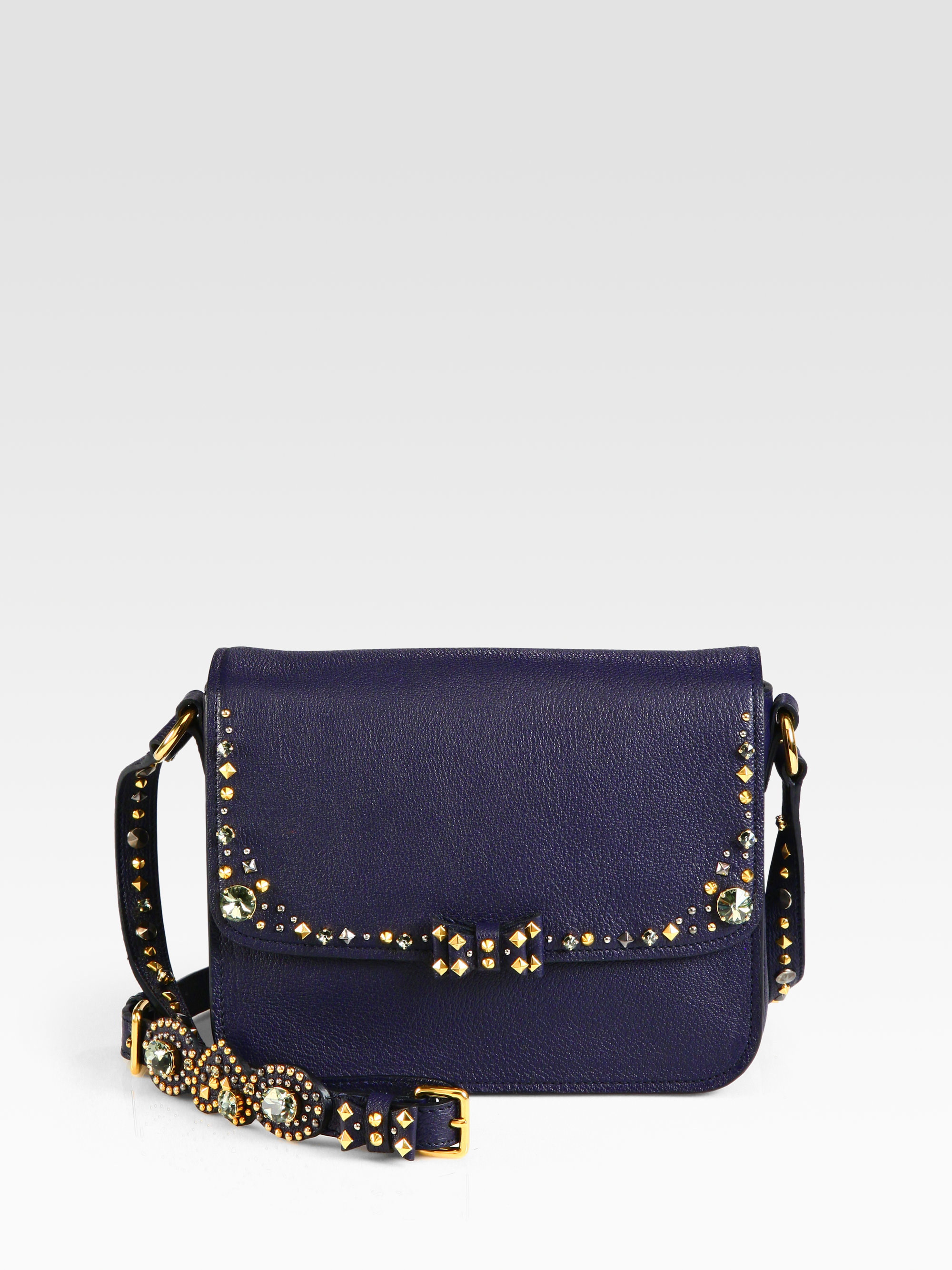Lyst - Miu Miu Madras Jeweled Crossbody Bag in Blue c53b37ff16621