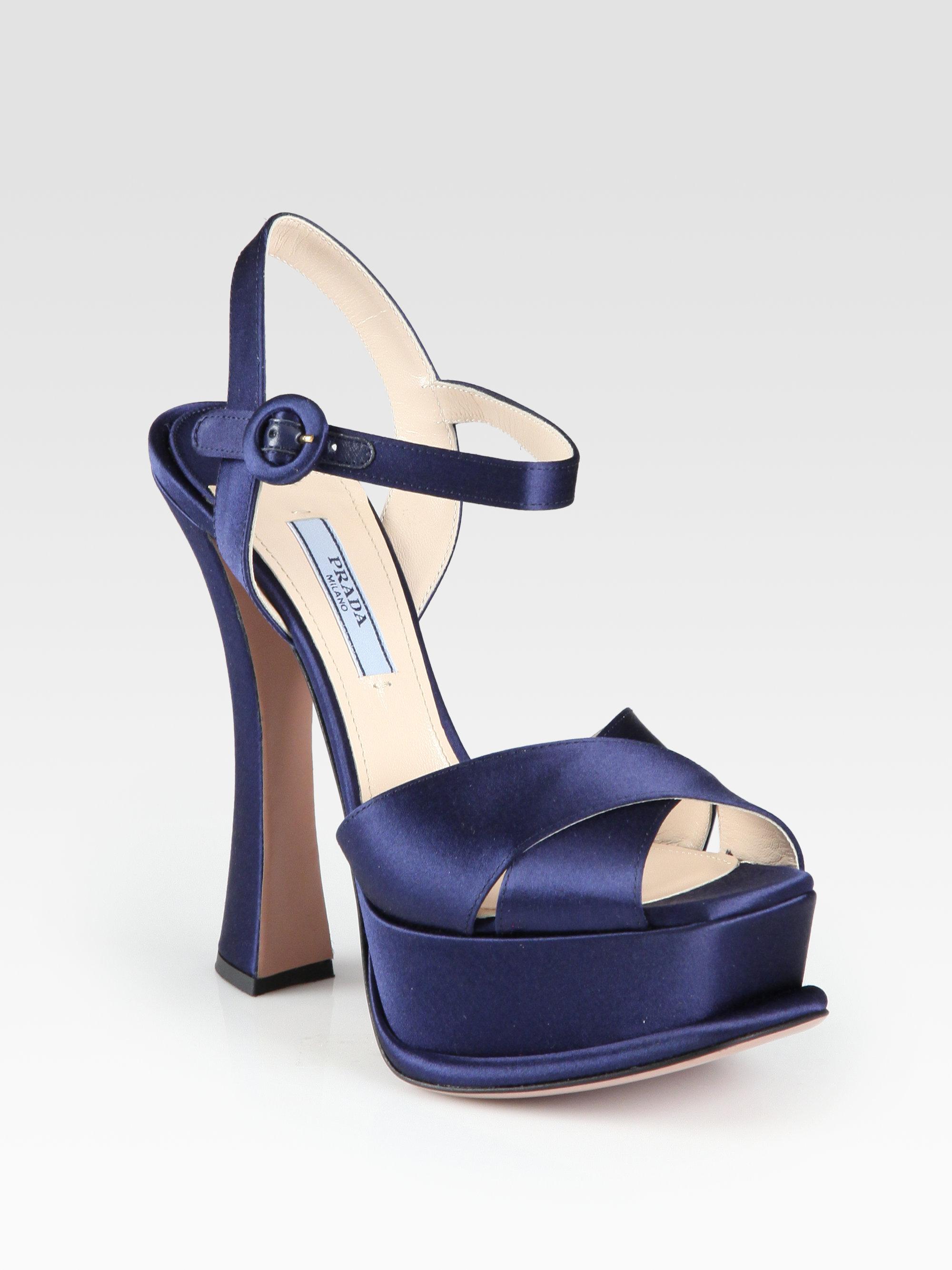 Prada Satin Platform Sandals in Blue - Lyst