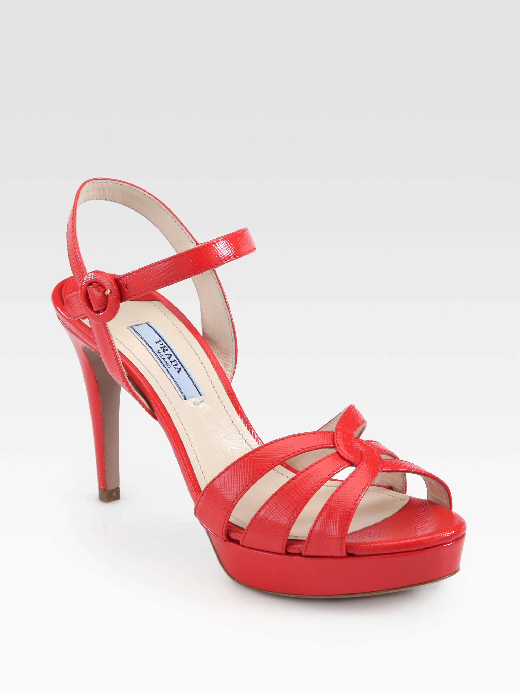 2ec85bfef13 Lyst - Prada Saffiano Leather Strappy Platform Sandals in Red