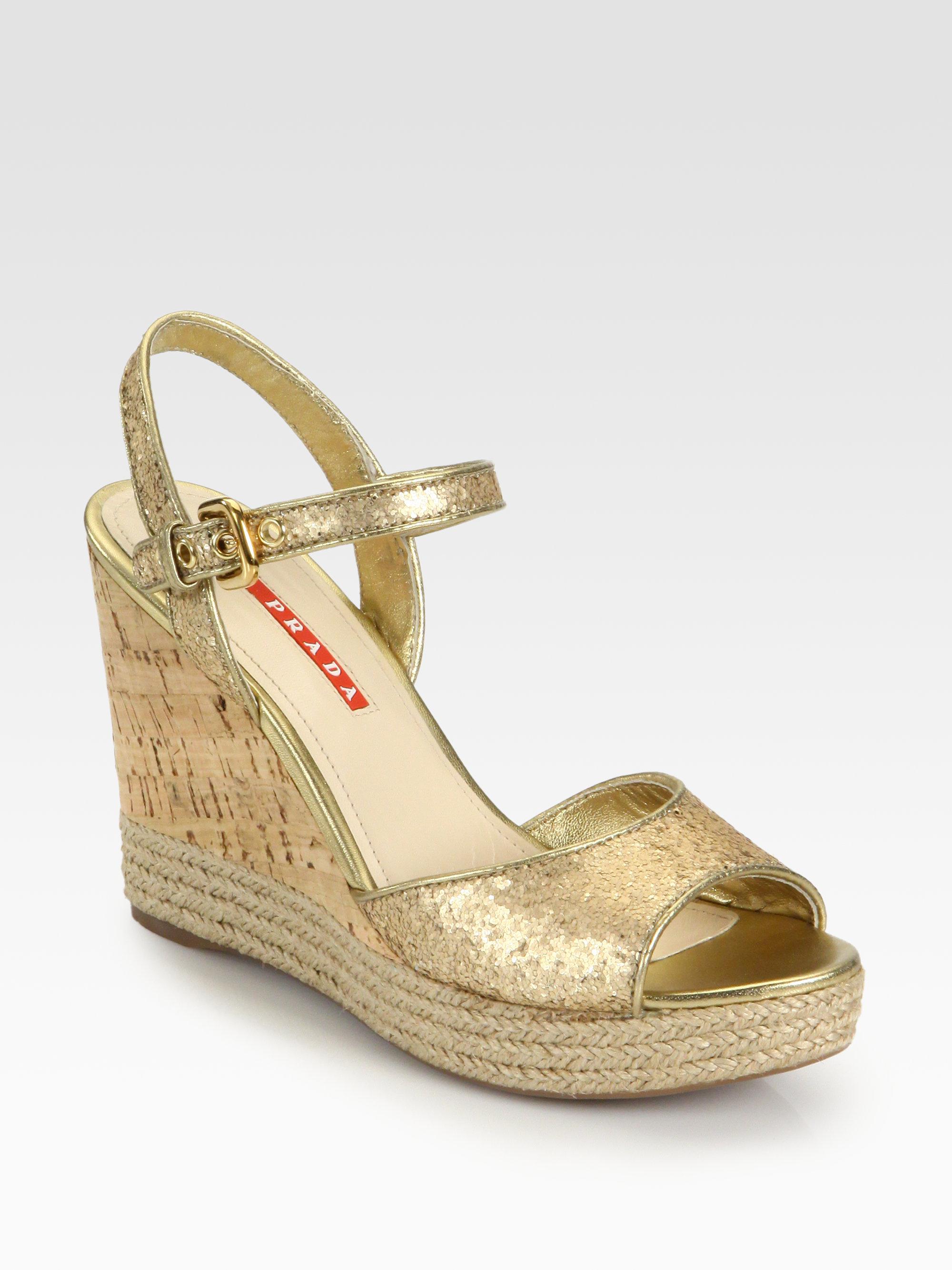 Carlos Women S Gold Wedge Heel Shoes