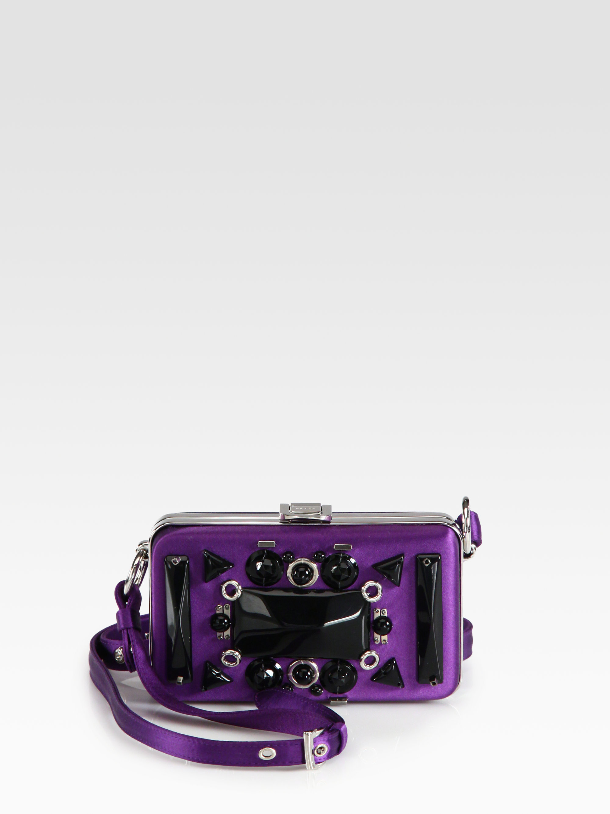 Prada Raso Ricamo Satin Box Clutch in Purple (violet) | Lyst