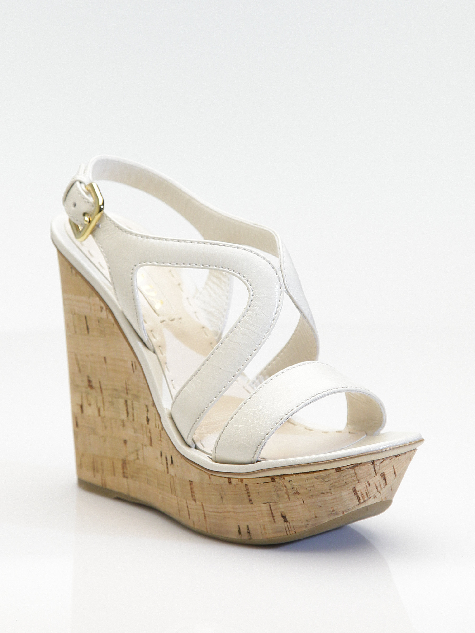 64e6bca47489f Lyst - Prada Cork Wedge Sandals in White Prada Patent Leather ...