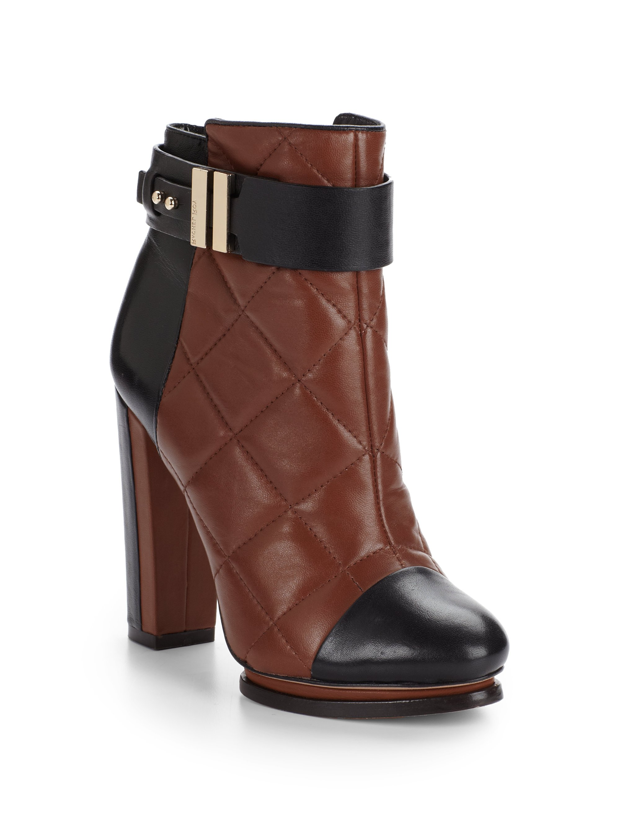 Lyst Rachel Roy Echo Quilted Leather Ankle Boots In Brown
