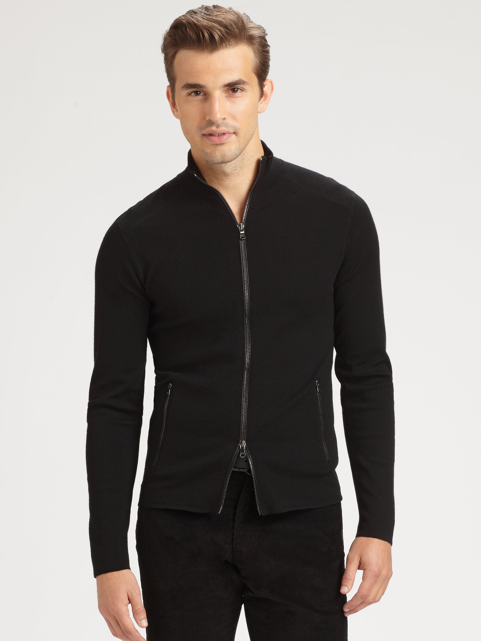 Lyst Ralph Lauren Black Label Fullzip Merino Wool Sweater In Black