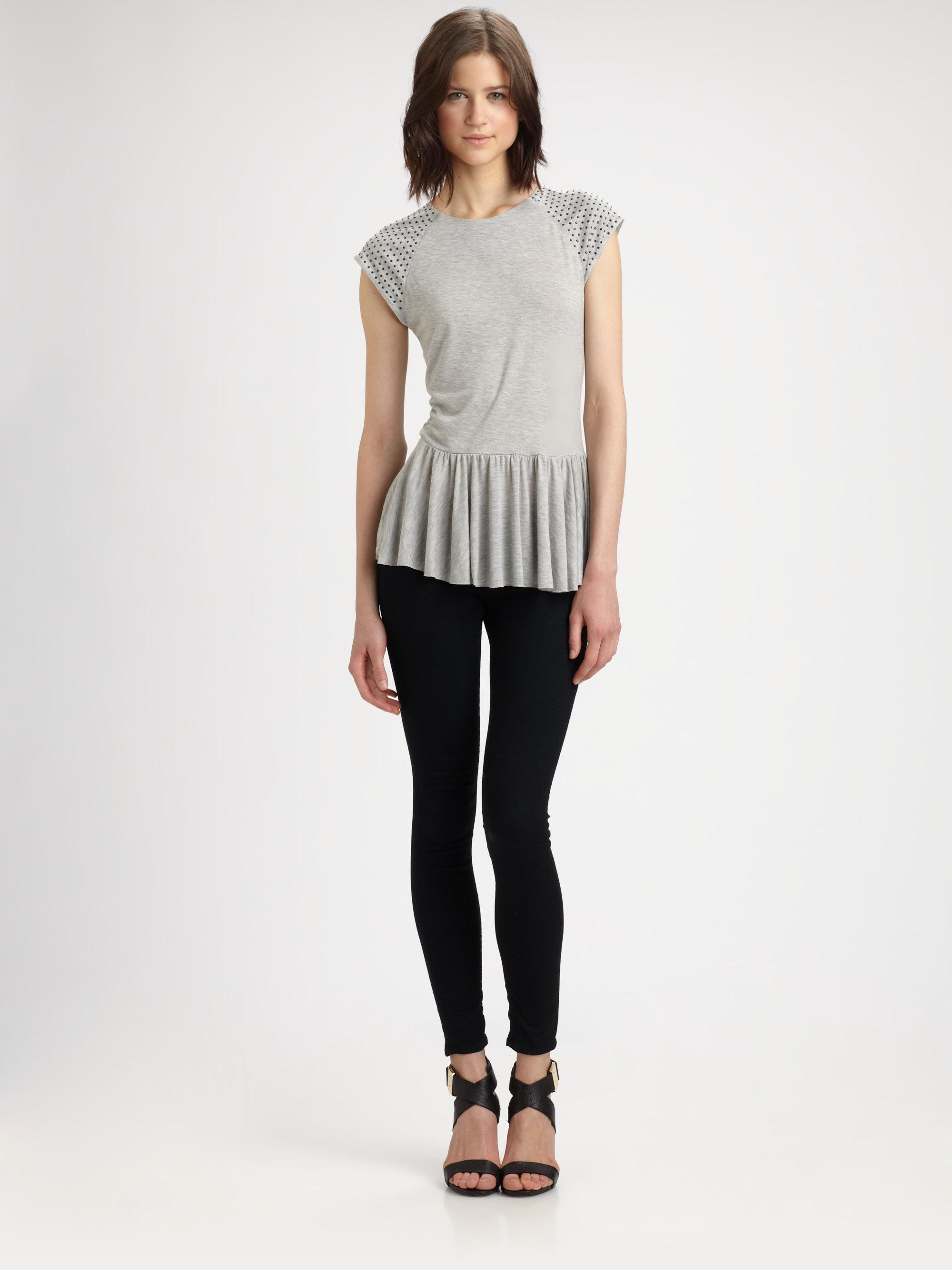 Lyst Rebecca Taylor Nailhead Peplum Tshirt In Gray