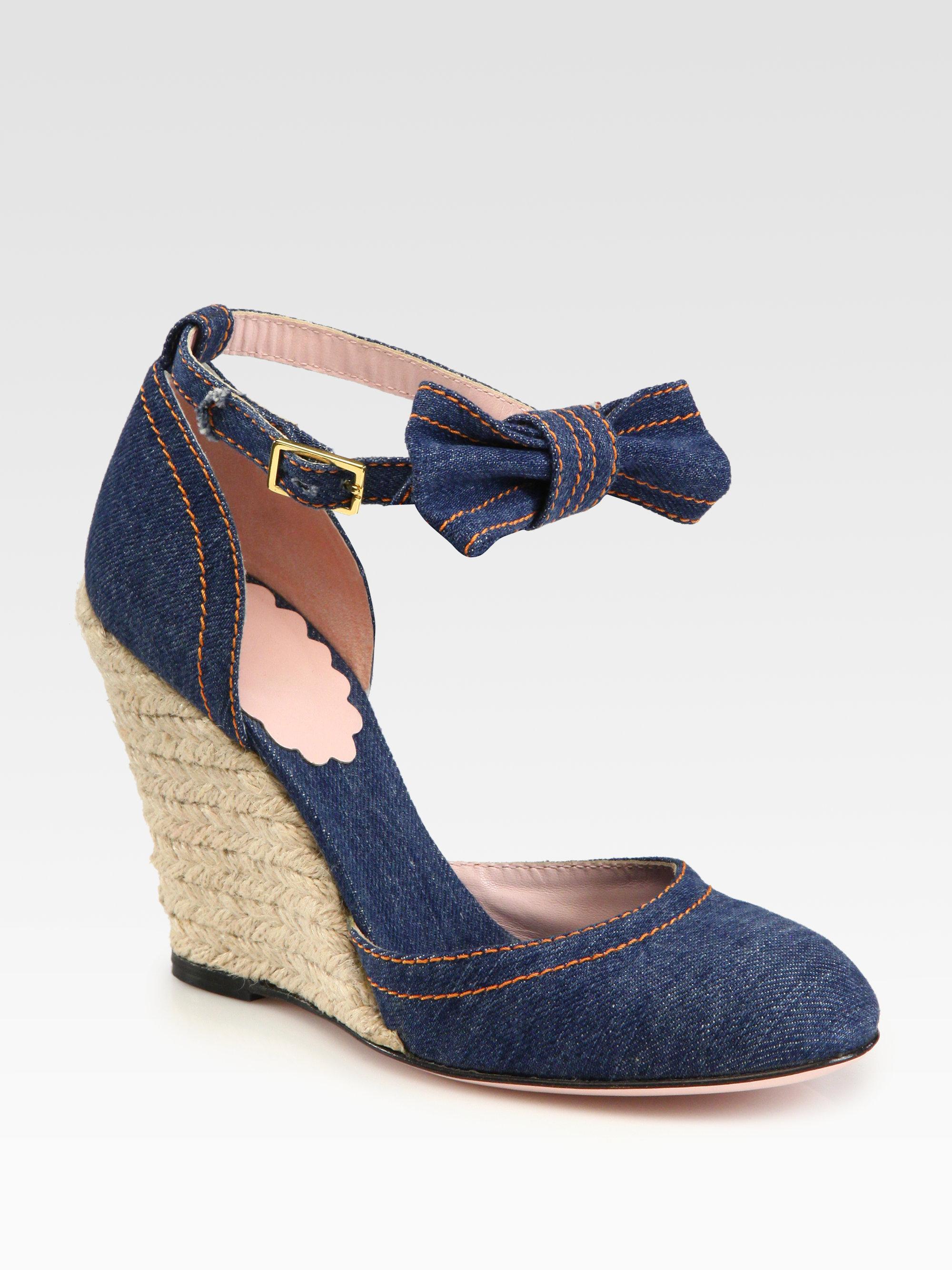 Red Valentino Denim Espadrille Wedge Bow Sandals In Blue