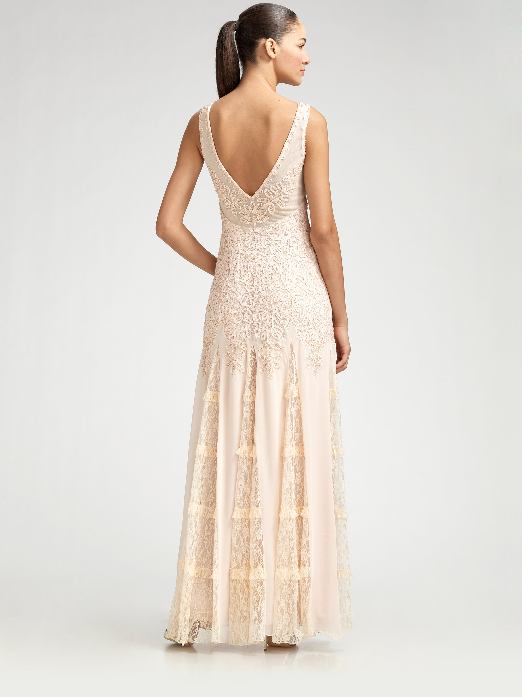 Lyst - Sue Wong Beaded Lace Gown in Natural