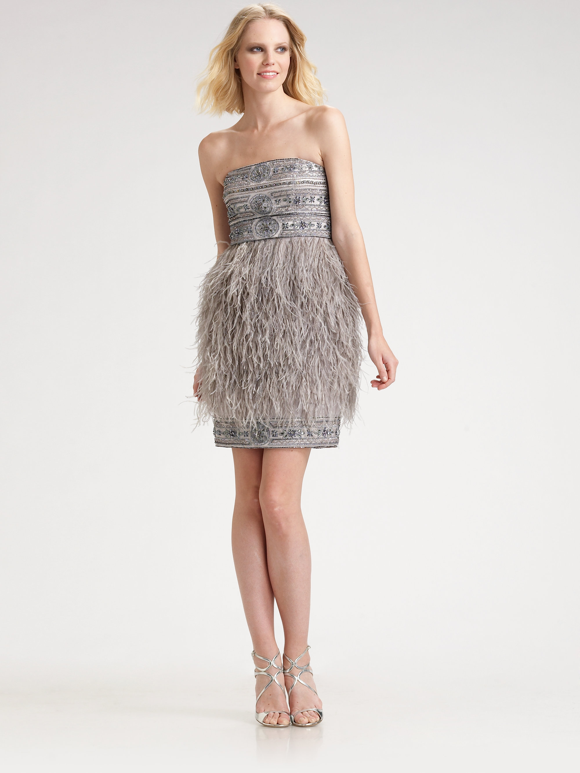 Sue wong Strapless Feather Dress in Gray | Lyst