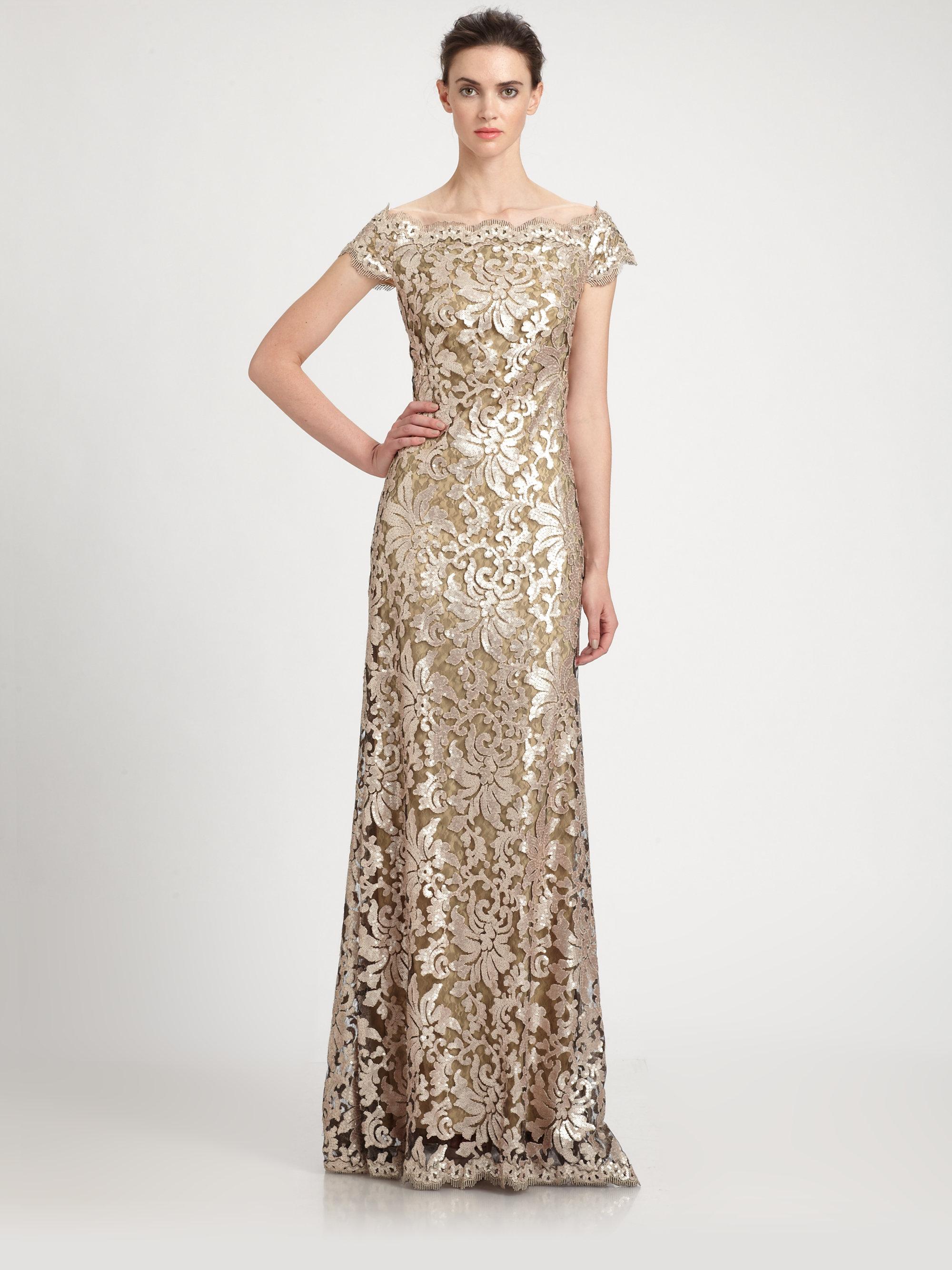 63f2108af27 Tadashi Shoji Offtheshoulder Sequined Lace Gown in Metallic - Lyst