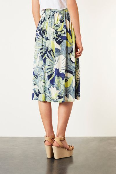 topshop crayon forest midi skirt in green lyst