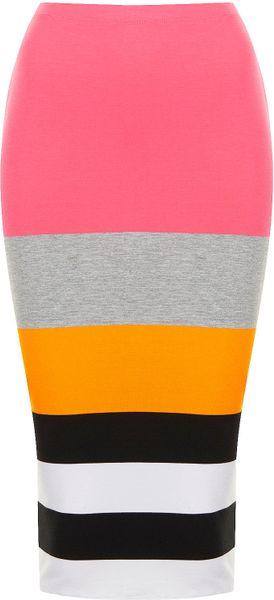 Topshop Colour Block Stripe Tube in Multicolor (pink)