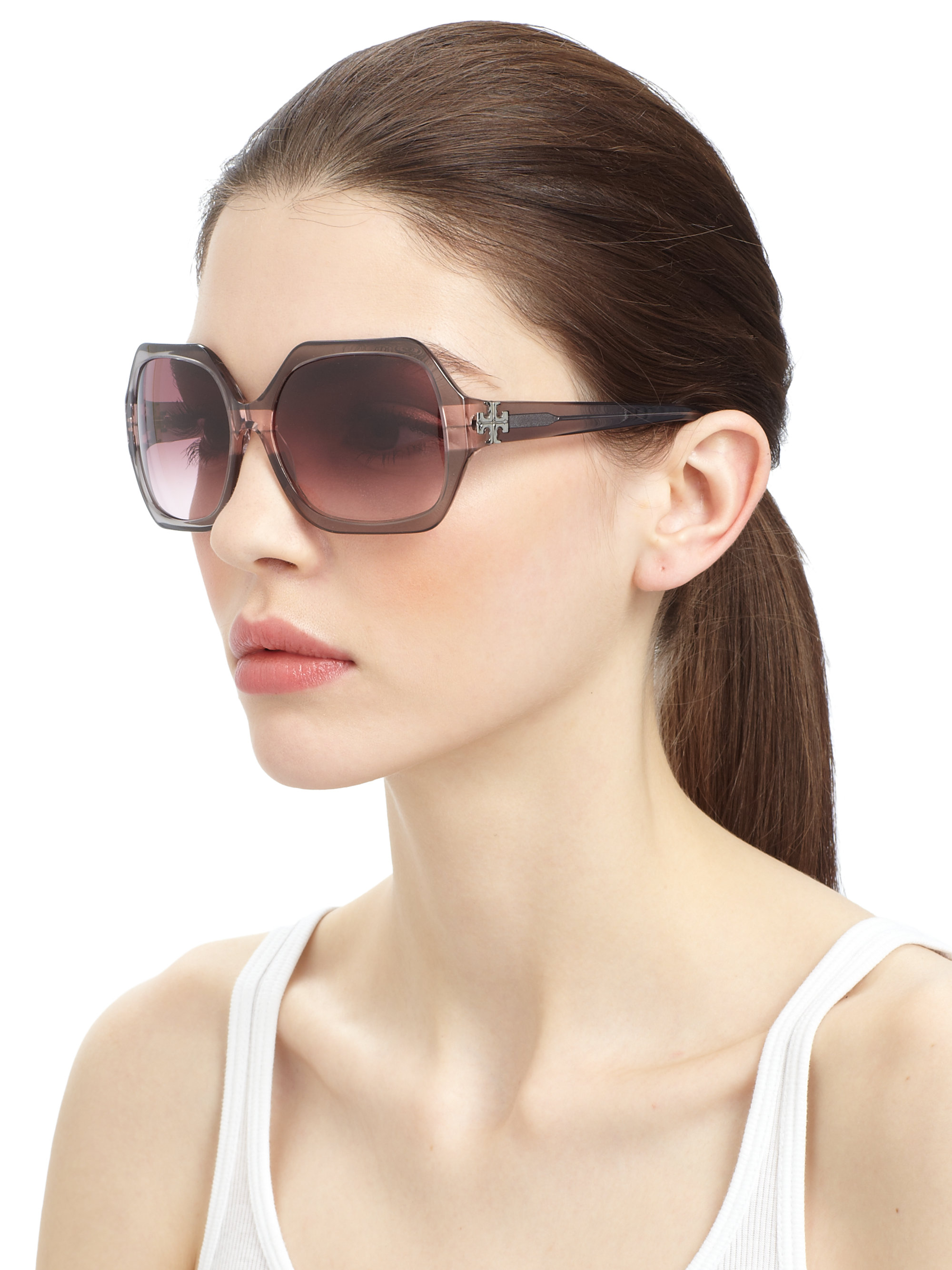 678743277c Lyst - Tory Burch Irregular Square Sunglasses in Gray