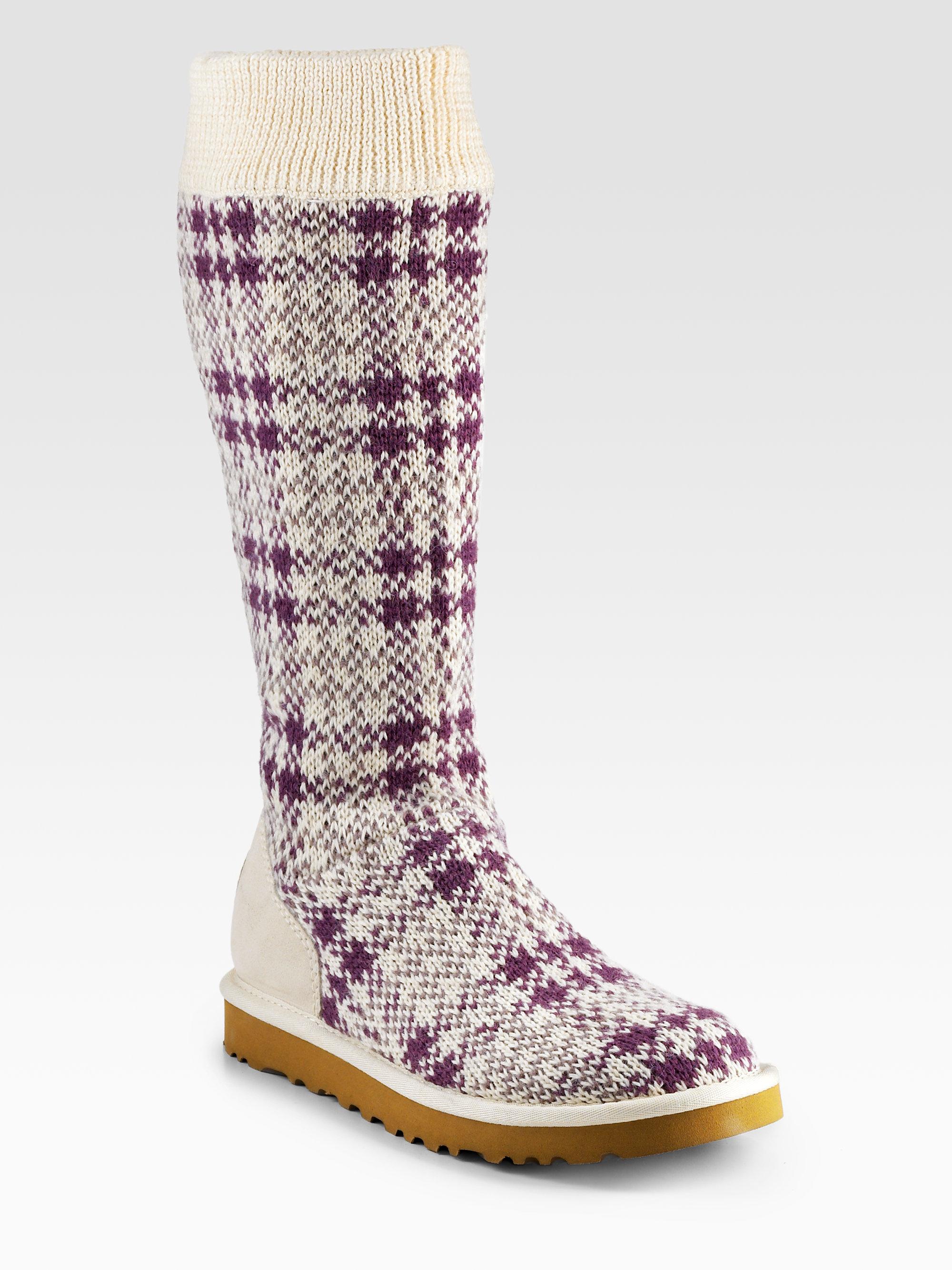 Ugg Tall Plaid Wool Knit Boots In Purple Lyst