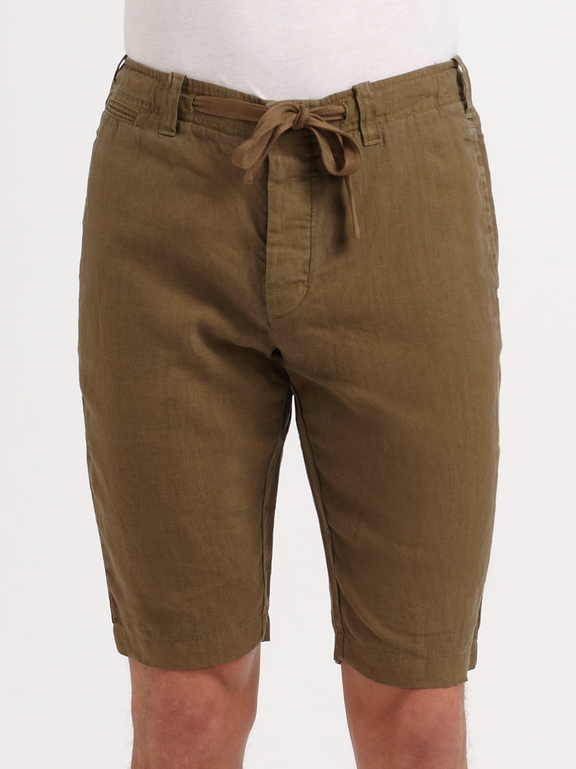 Vince Linen Drawstring Shorts in Brown for Men | Lyst