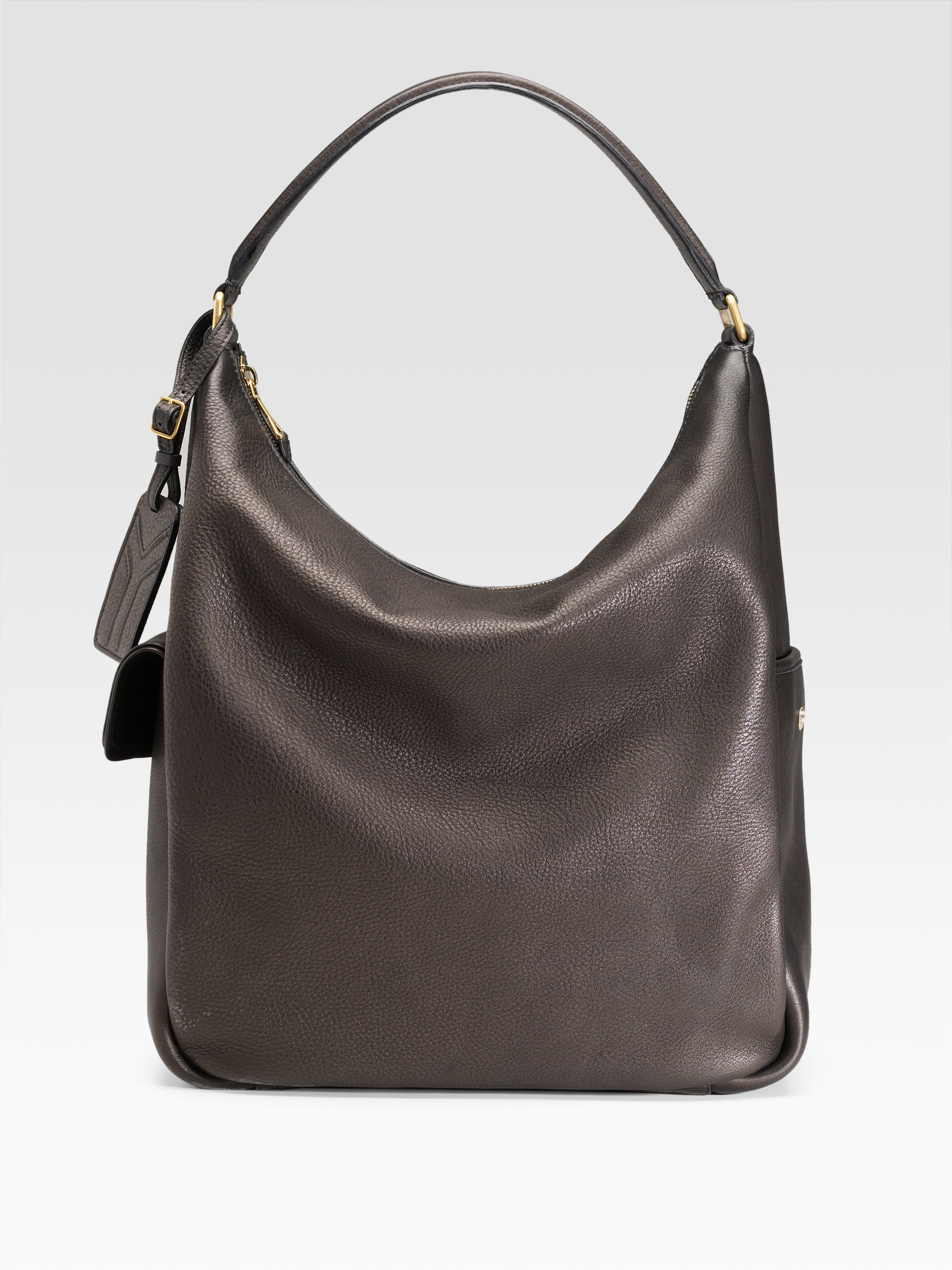Saint laurent Ysl Large Leather Multy Hobo in Brown (black) | Lyst