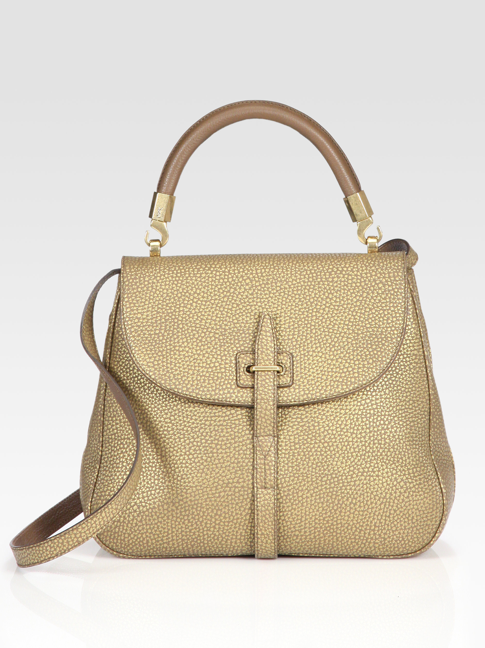 Lyst Saint Laurent Ysl Pebbleleather Flap Bag In Natural