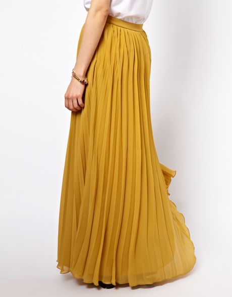asos pleated maxi skirt in orange lime lyst