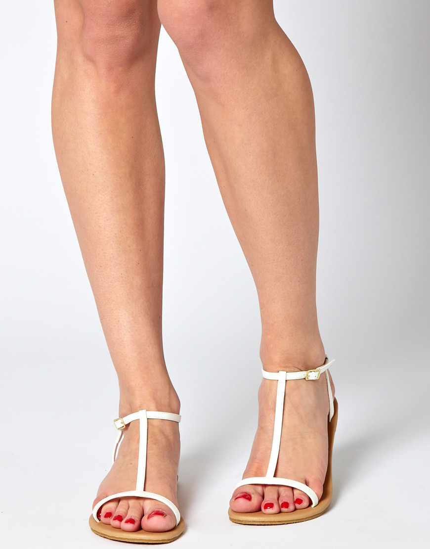 Lyst Asos Collection Asos Factor Flat Sandals In White