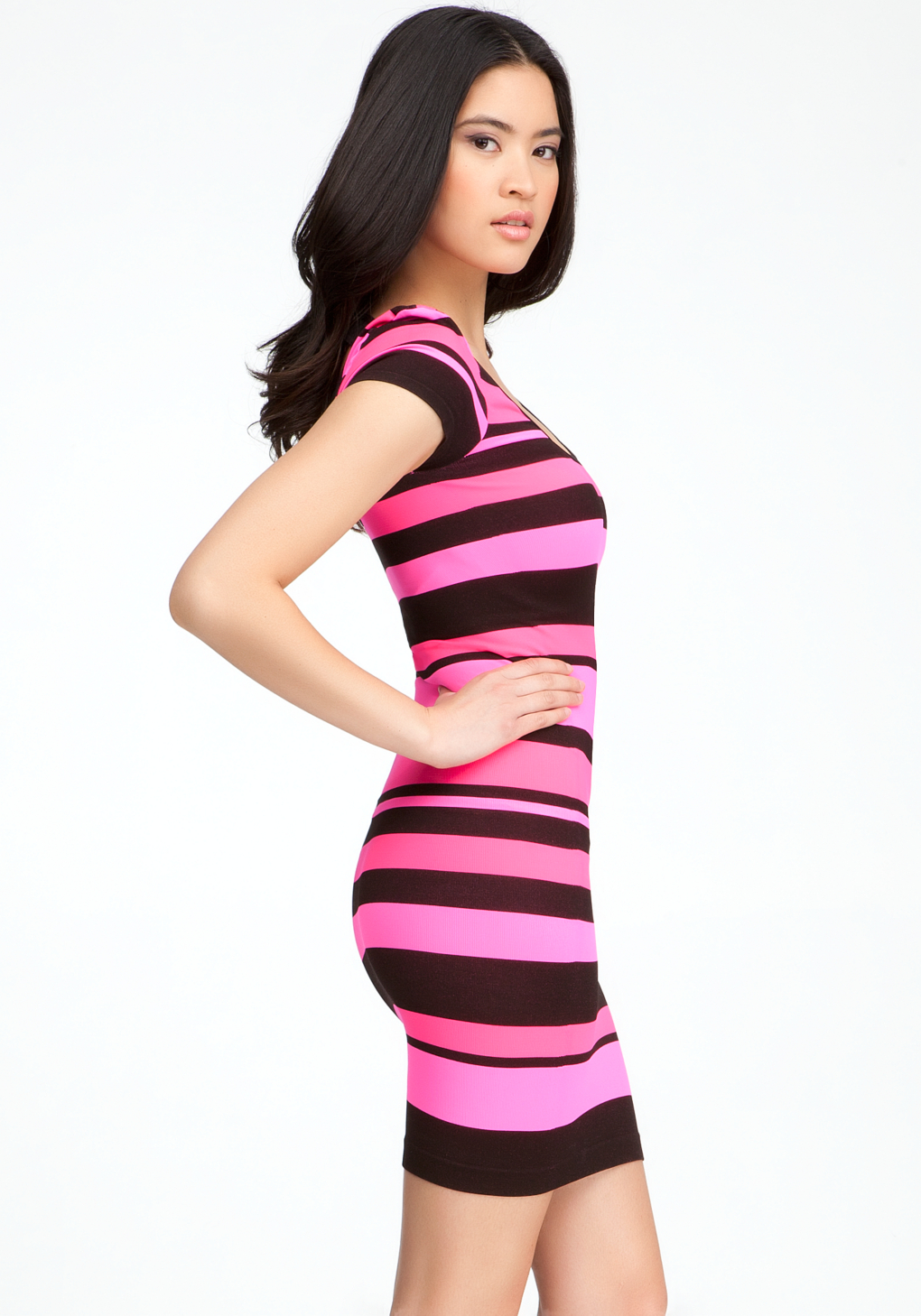 Bebe Banded Striped Bodycon Dress In Pink Lyst