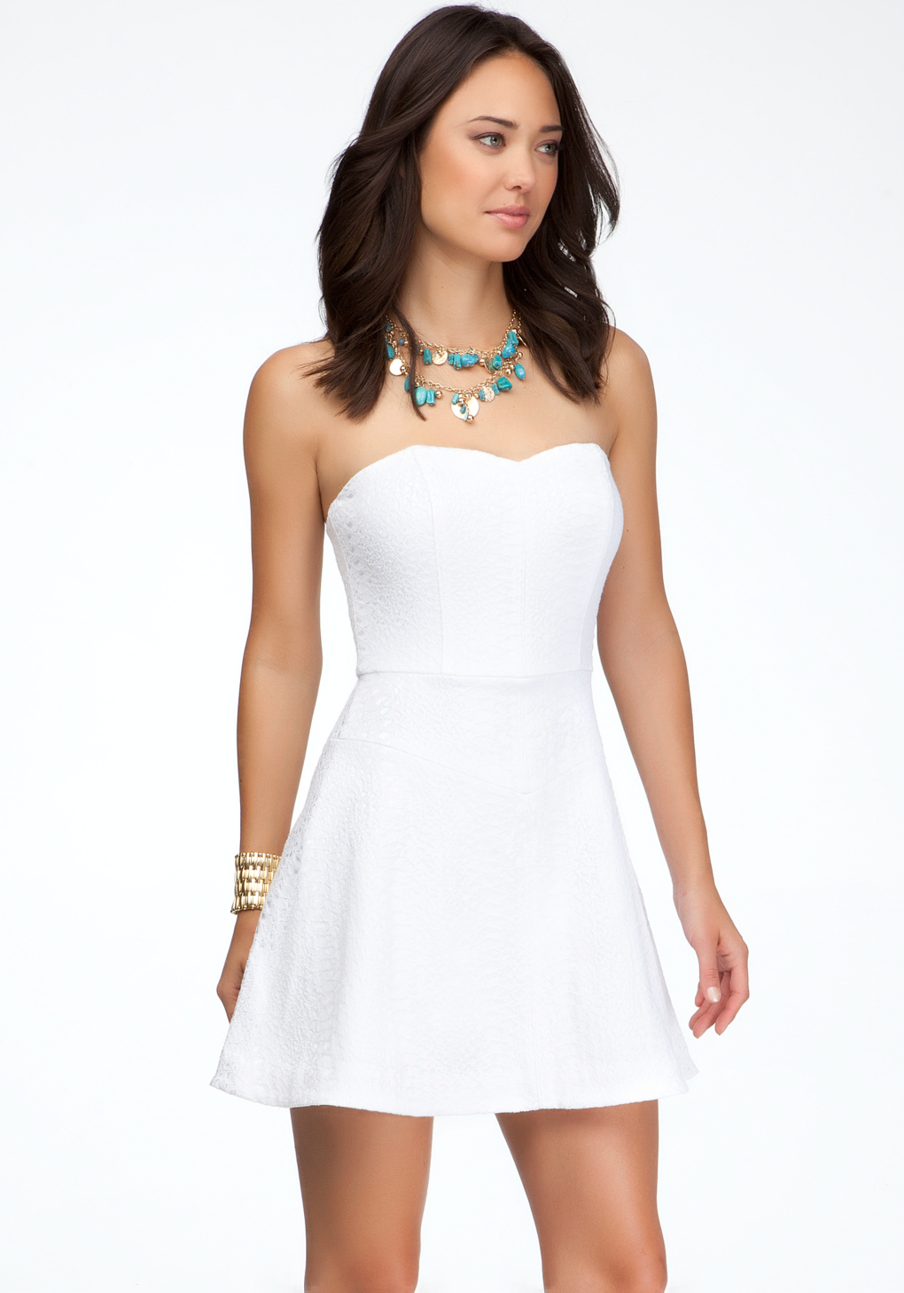 bebe heart neck strapless dress in white  lyst