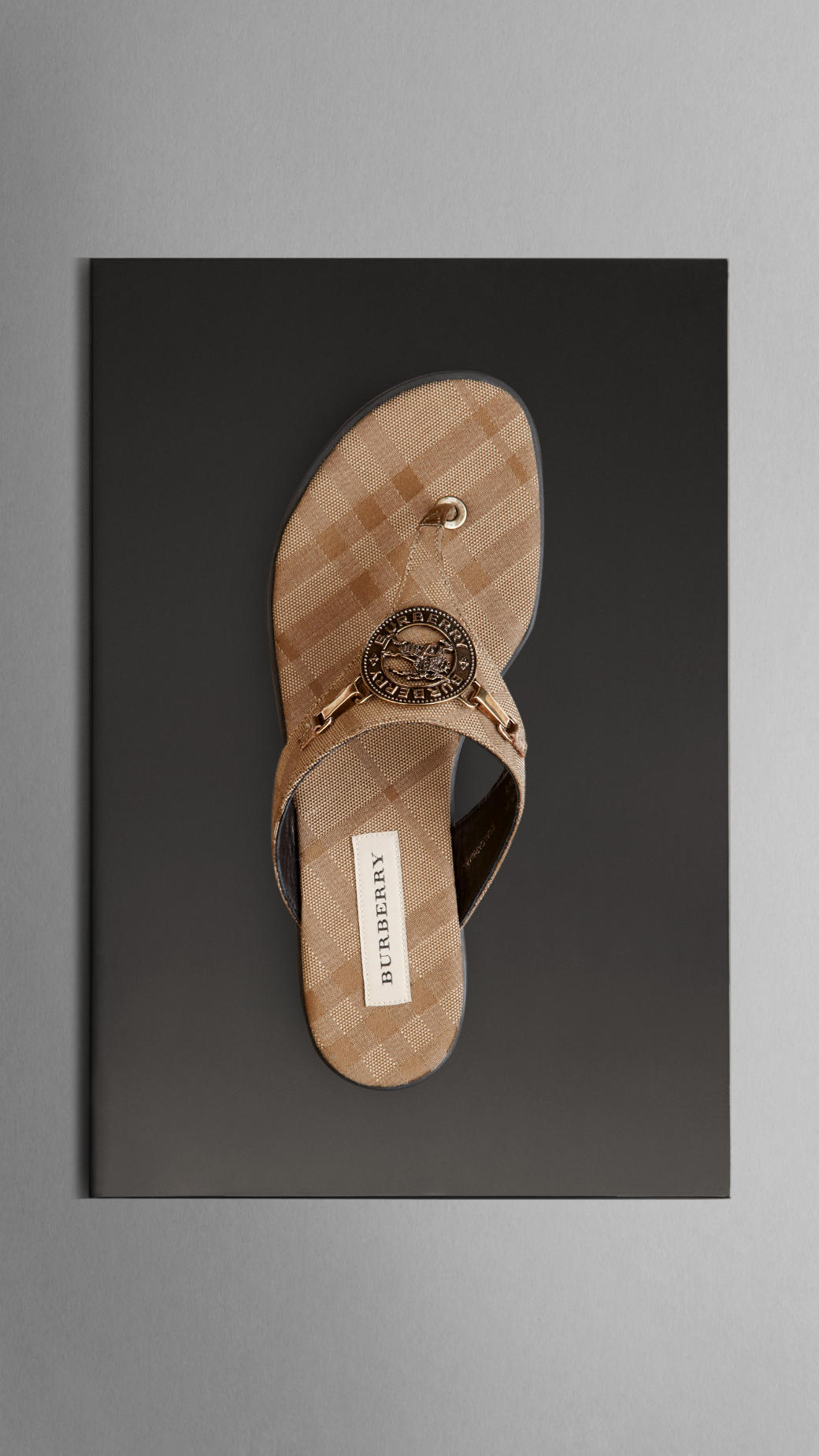 Lyst Burberry Check Flat Sandals In Natural