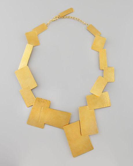 herve van der straeten hammered gold geometric necklace in. Black Bedroom Furniture Sets. Home Design Ideas