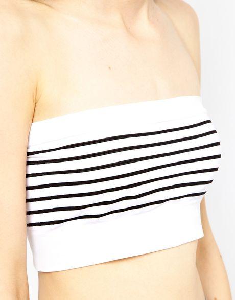 Not pay White striped boob tube good