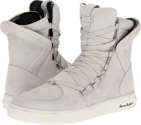 Pierre Balmain Coated High Top Trainer in Gray (w)