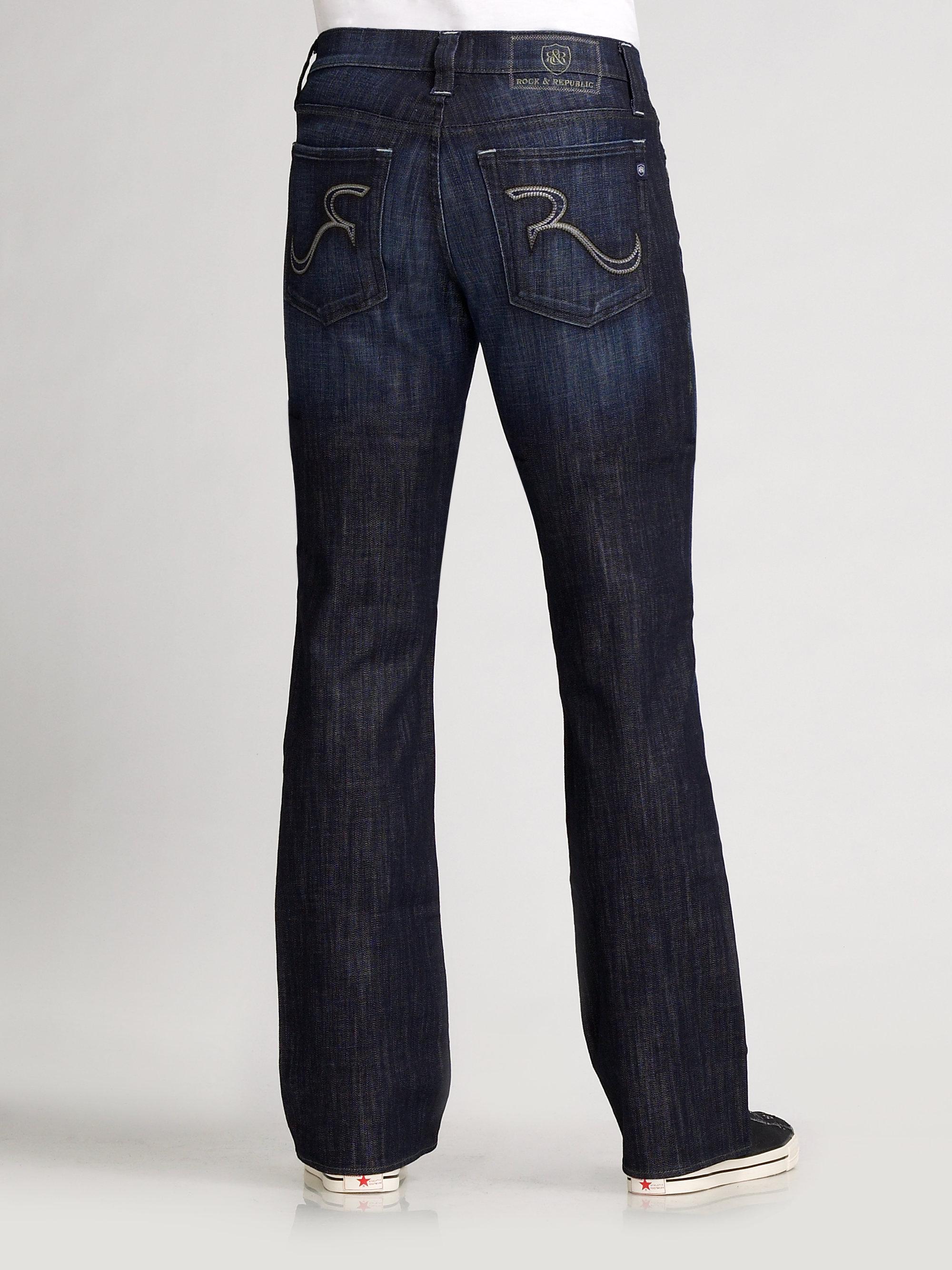 lyst rock republic henlee bootcut jeans in blue for men. Black Bedroom Furniture Sets. Home Design Ideas
