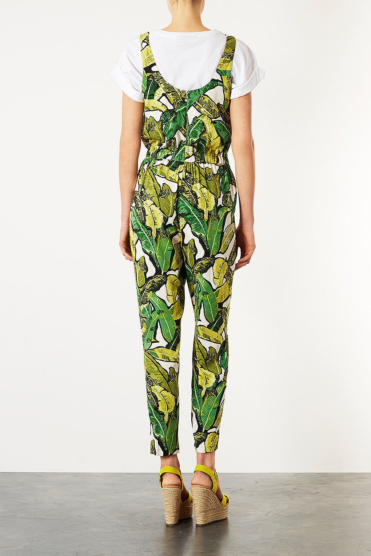 TOPSHOP Leaf Print Jumpsuit in Green - Lyst
