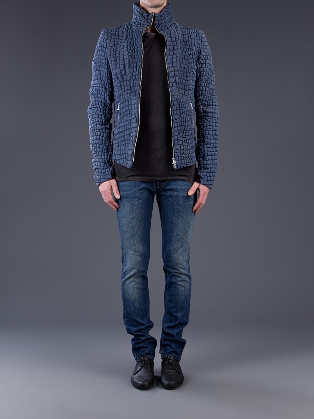 Lyst Unconditional Snake Skin Jacket In Blue For Men