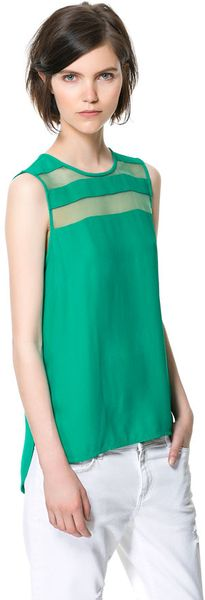 Zara Top with Sheer Stripe in Green (emerald green)