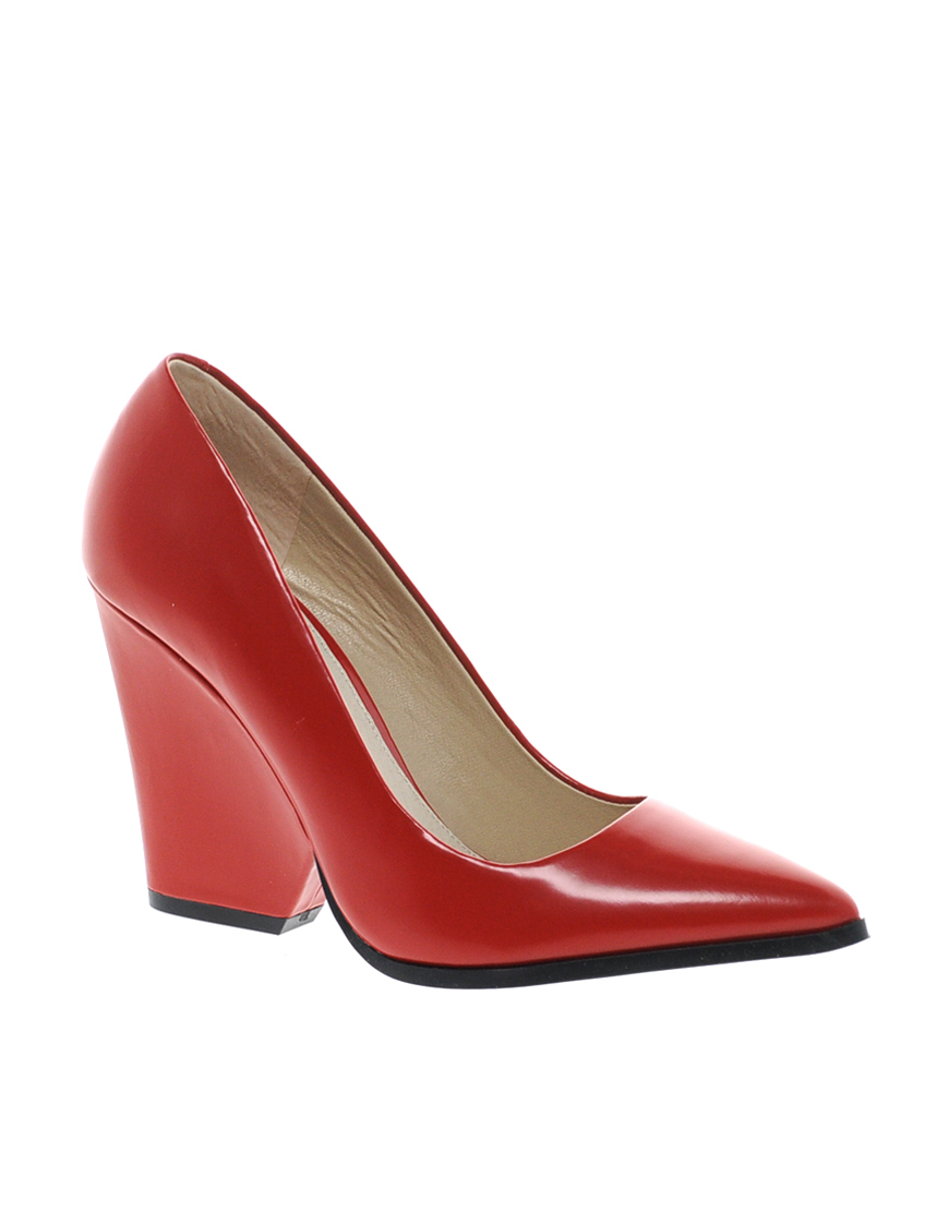 Block Heeled Pointed Court Shoes - Lyst