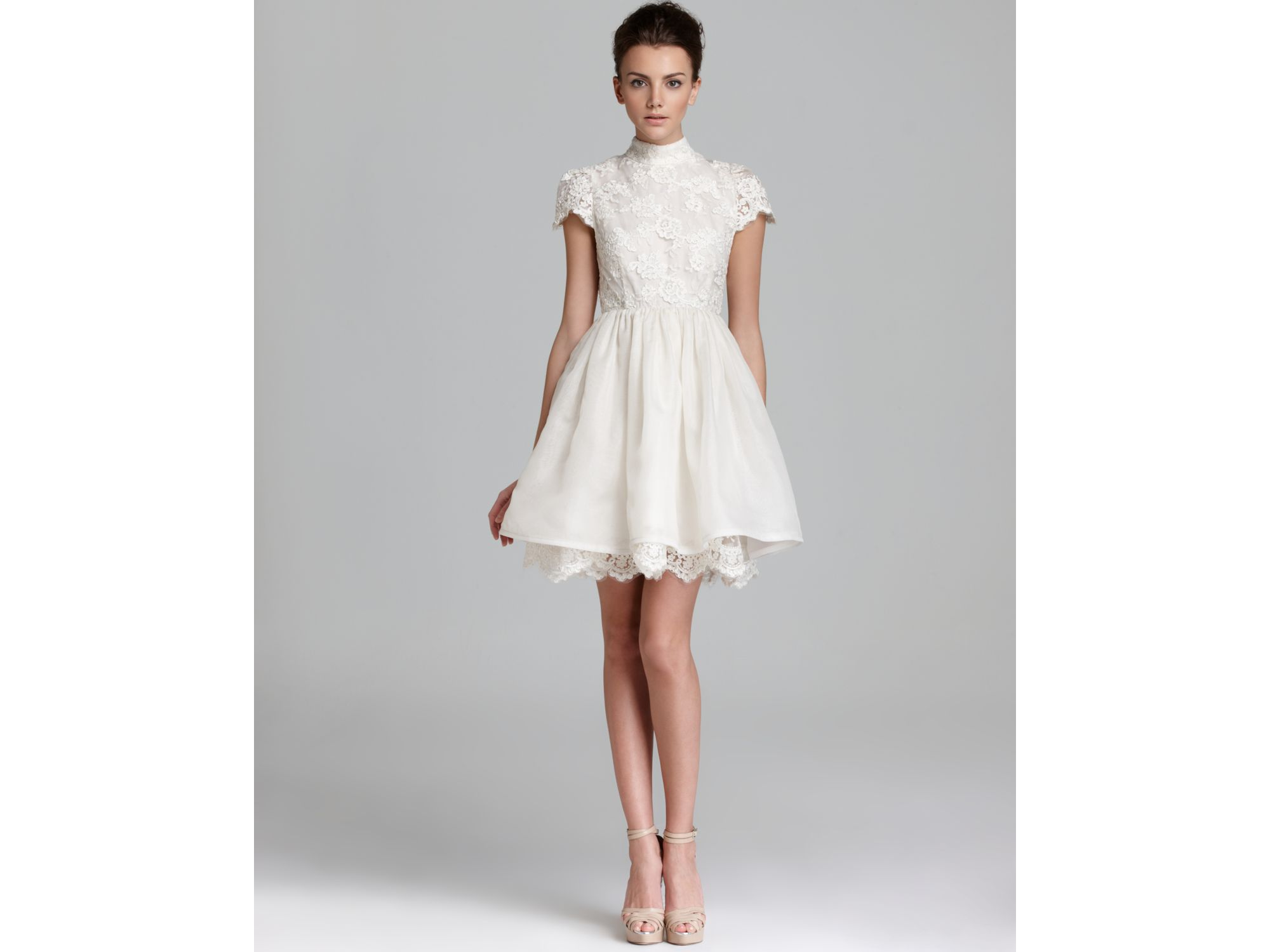 Alice   olivia Dress Lace Bodice Party in White | Lyst
